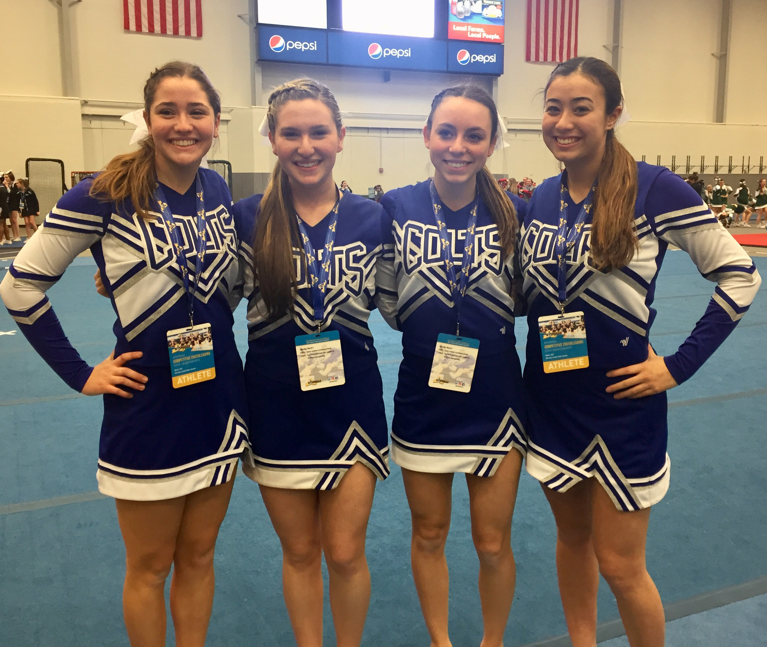 The Colts' co-captains, Corrine Morales, left, Lizzy Shein, Victoria Devito and Quinn Chao, competed together for the last time at states.