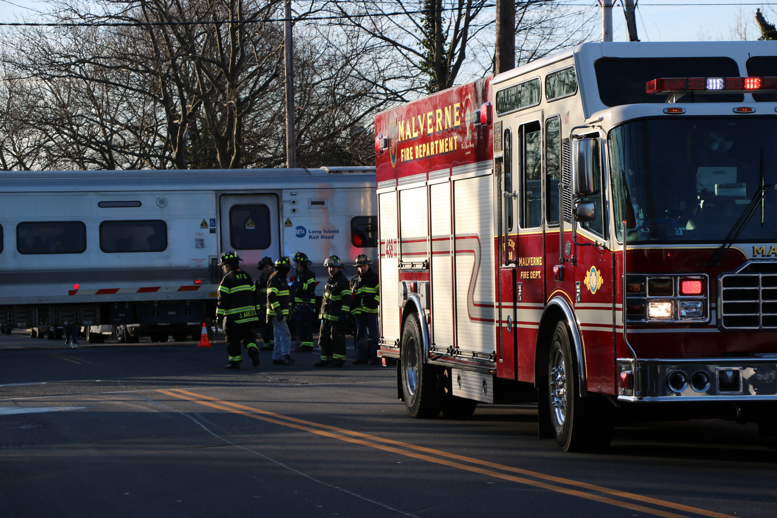 Malverne firefighters on the scene of the crash.