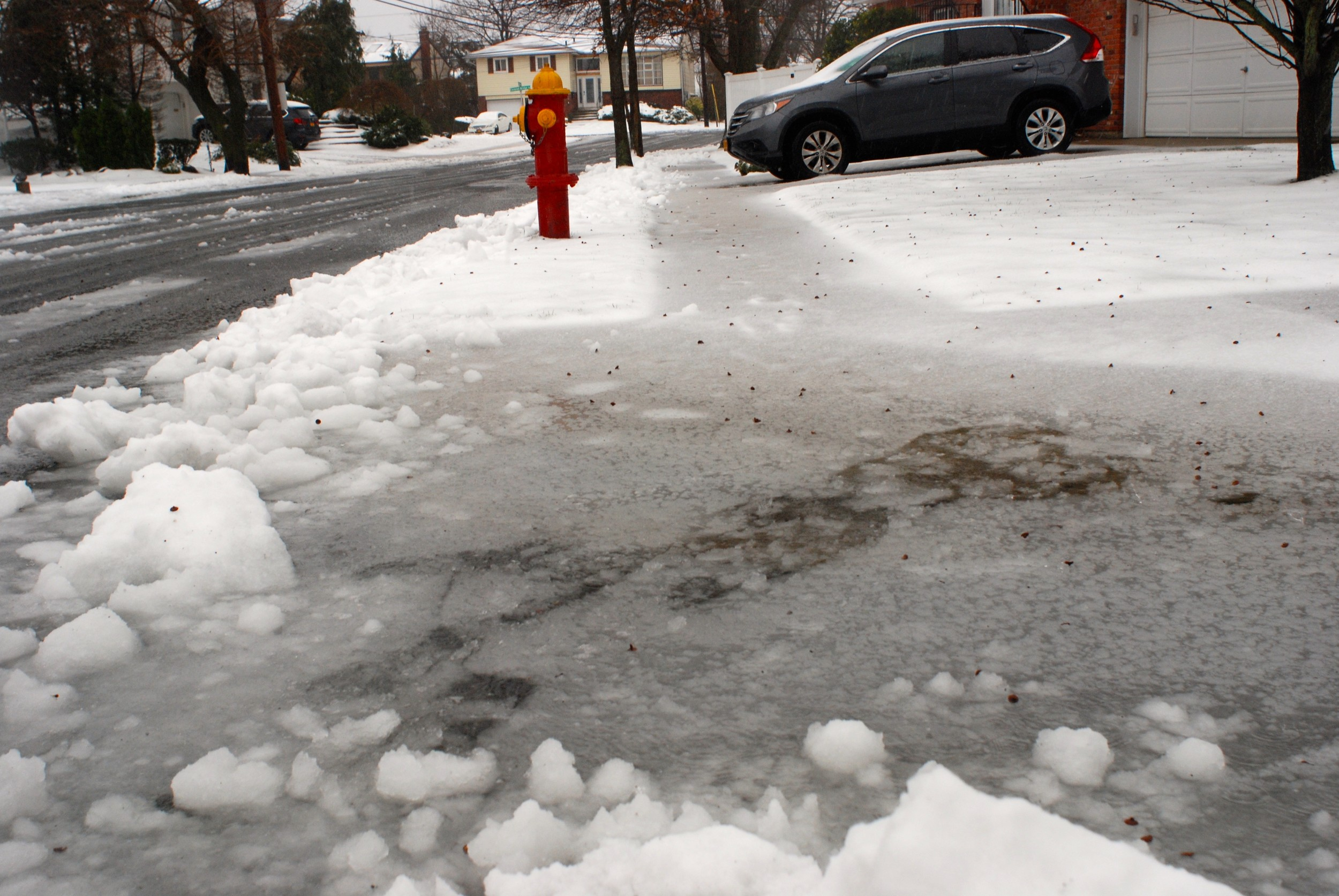 Rain and melting snow caused pooling on streets.
