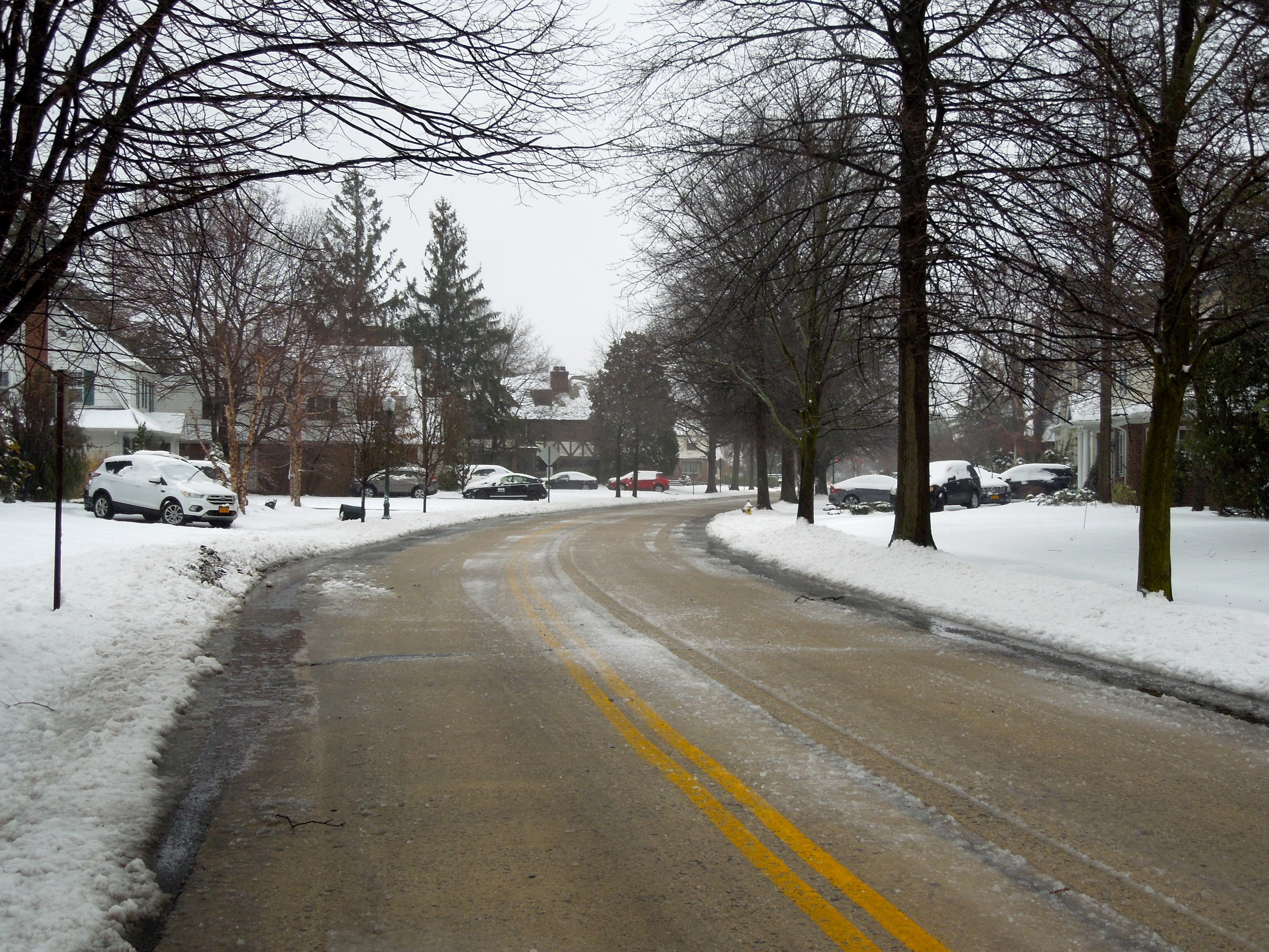 This Rockville Centre street was picturesque in the snow, but icy.