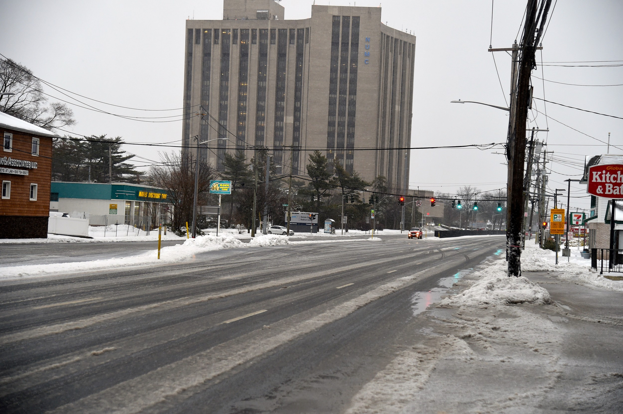 Hempstead Turnpike in East Meadow was virtually empty this morning. The Nassau University Medical Center prepped for the anticipated snowfall.