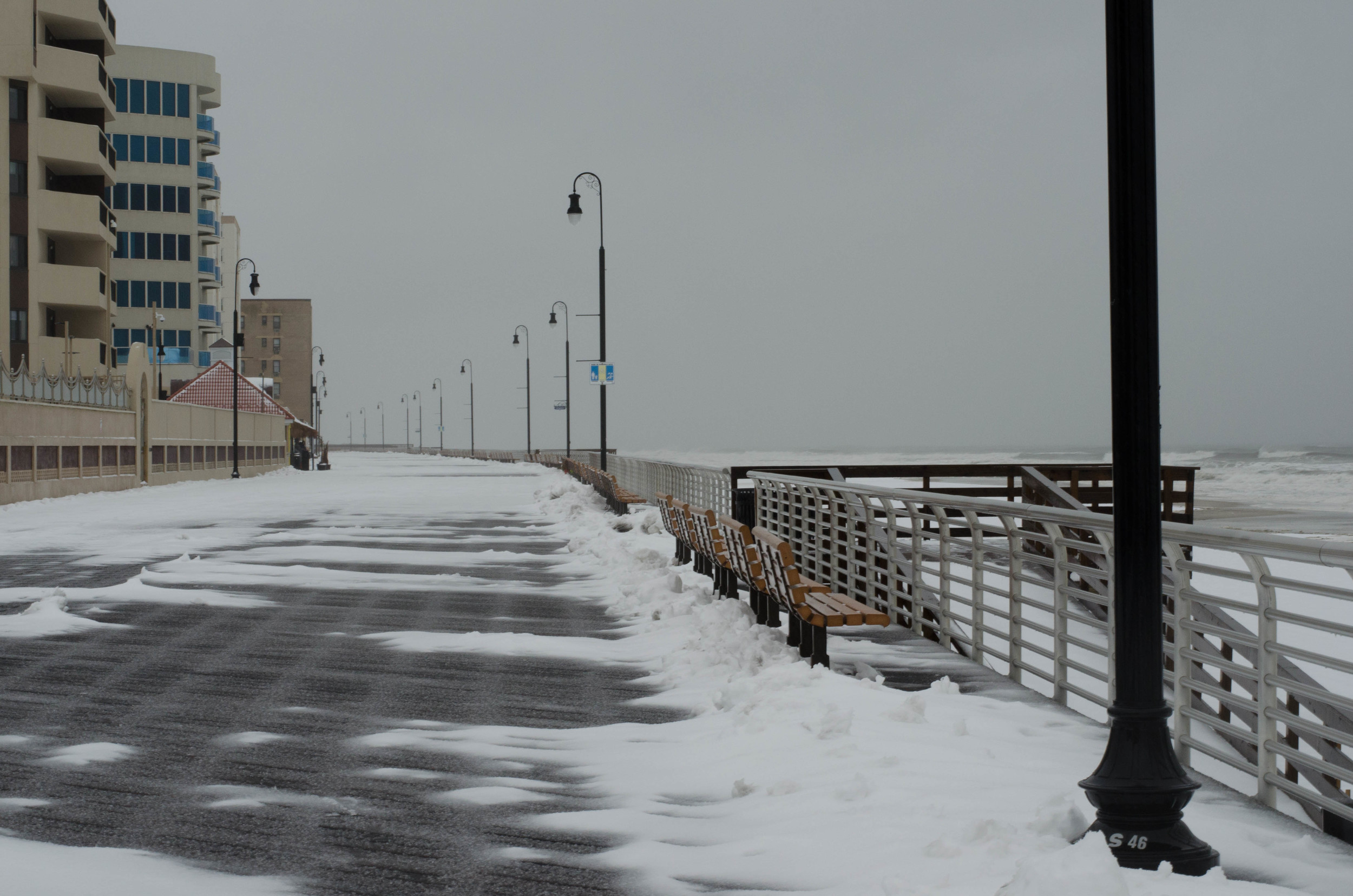 There might not have been much snow on Tuesday, but freezing rain made the roads hazardous and minor flooding along the bay was reported.