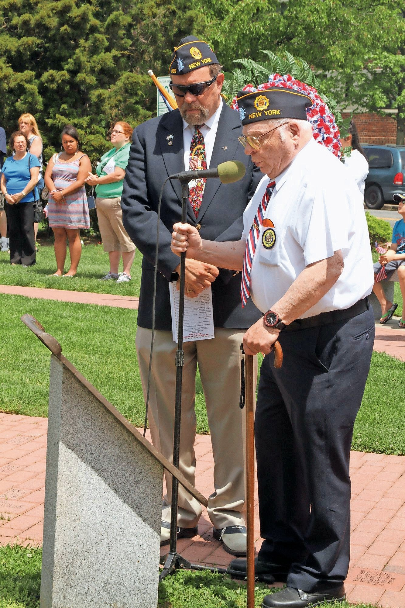 Veterans monuments such as the one in Andrew J. Parise Cedarhurst Park will be documented as part of a nationwide project. At left Syd Mandelbaum, now commander of the Lawrence-Cedarhurst American Legion Post 339, with former post commander, Harry Sidor.