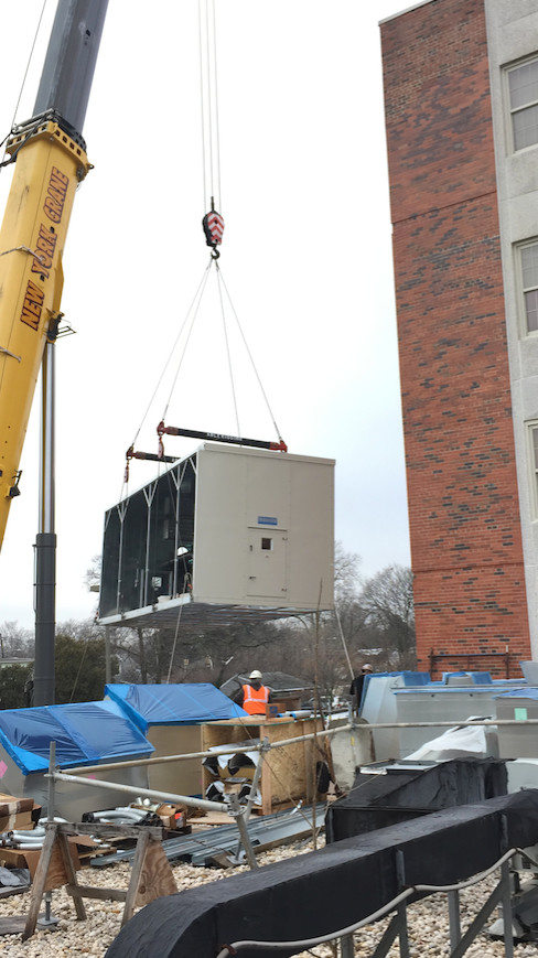 Mechanical units from the machine room are being moved to other areas of the hospital, including the roof.