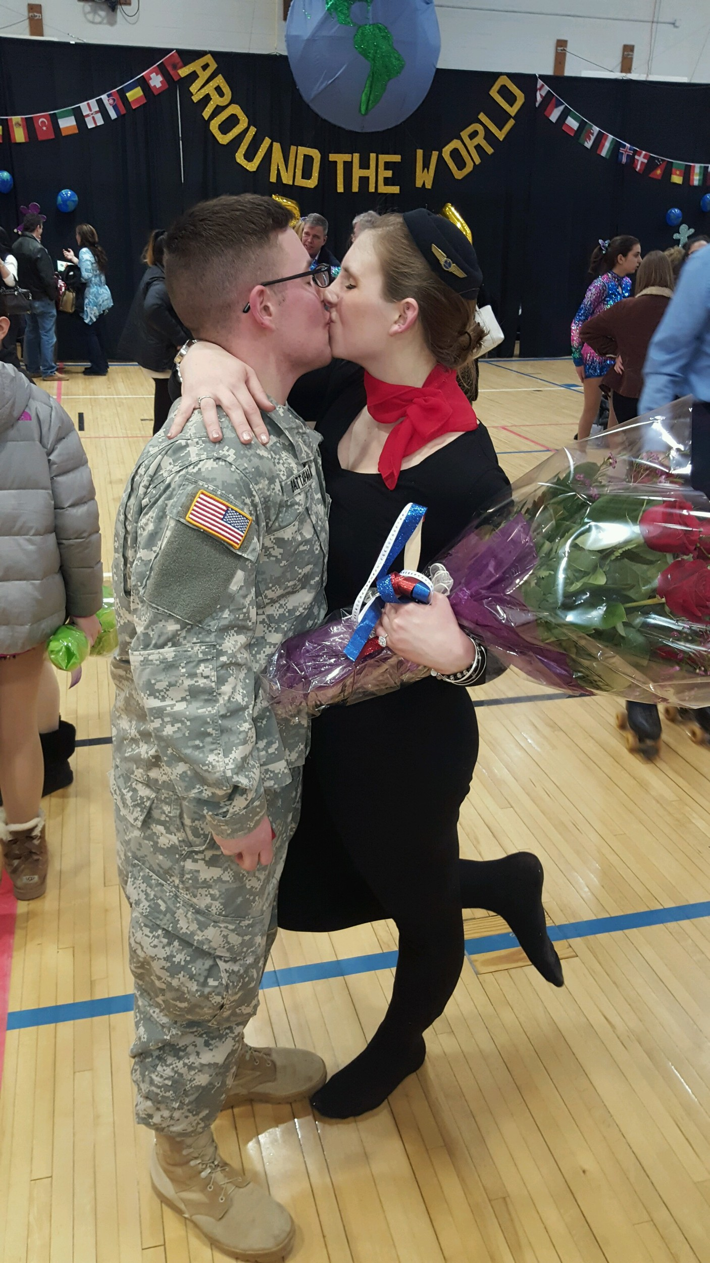 Robert Battafarano and Michelle Troici shared a kiss shortly after he proposed to her during the 54th annual Roller Skating Show at Oceanside Middle School on March 3.