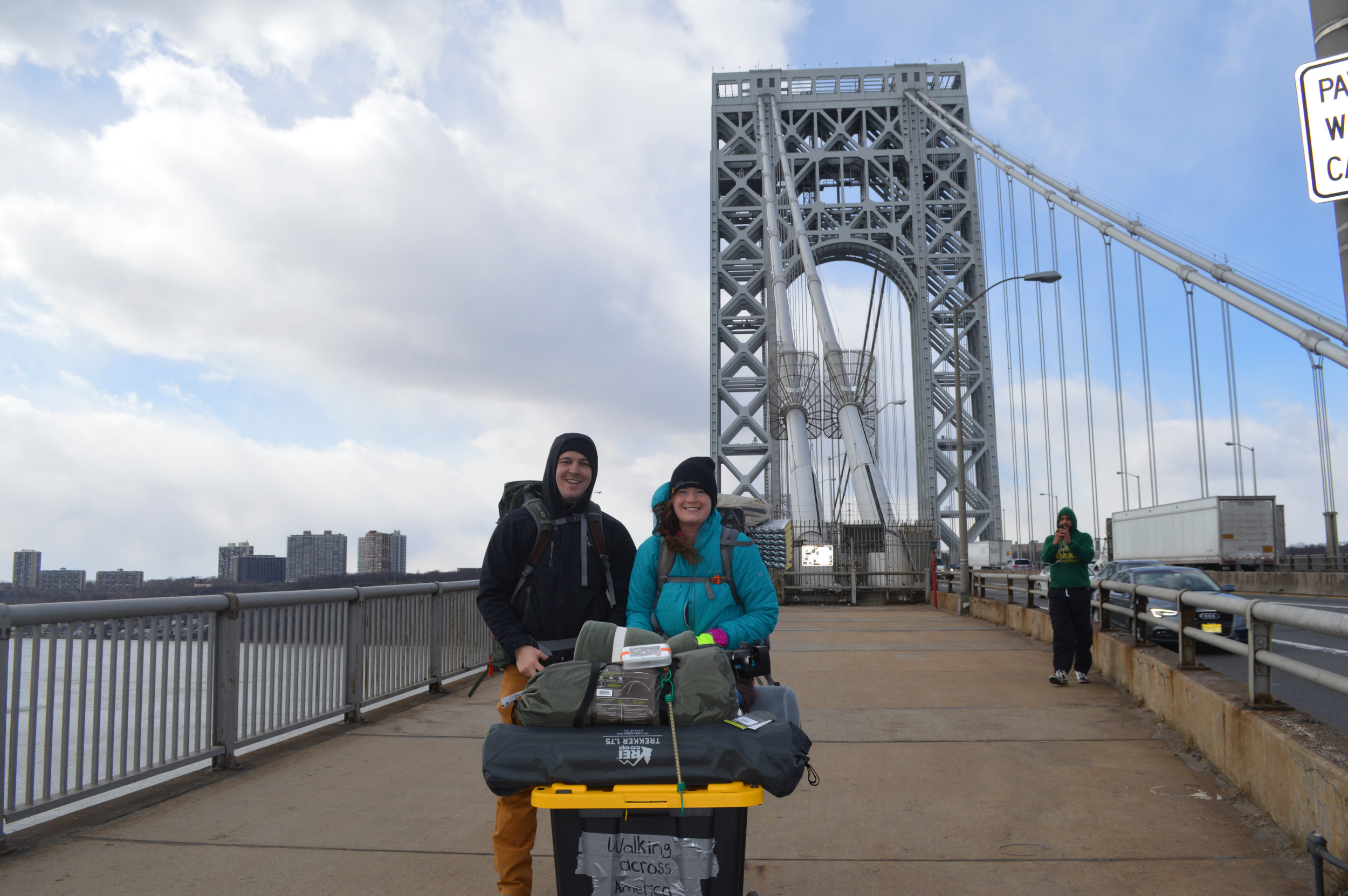 Daniel Finnegan, left, and Addy Bongaarts, crossed the George Washington Bridge during their journey across the country.