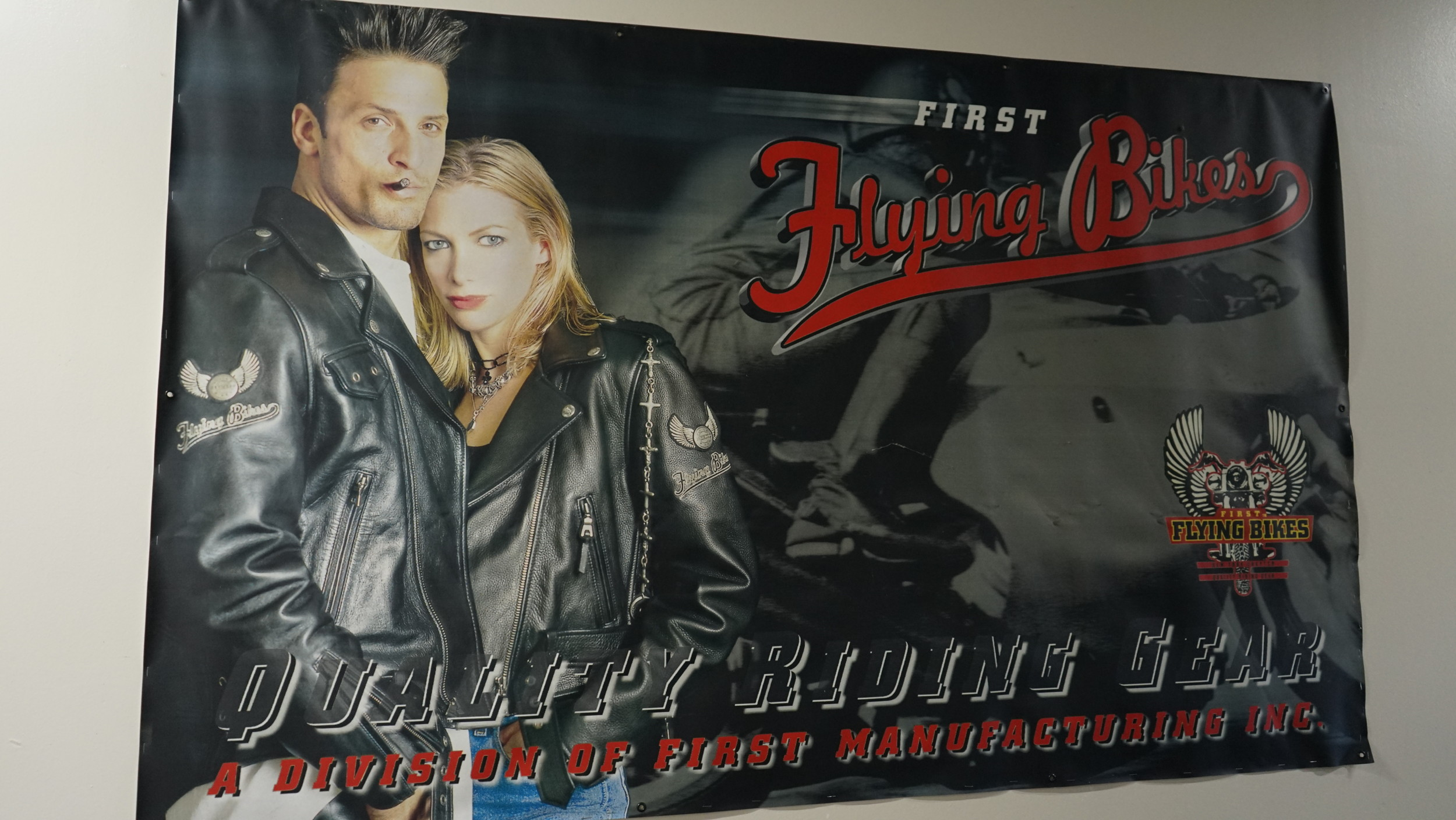 First Manufacturing entered the U.S. market in 1987 targeting American motorcycle culture. Pictured above is one of their ads from the early '90s.