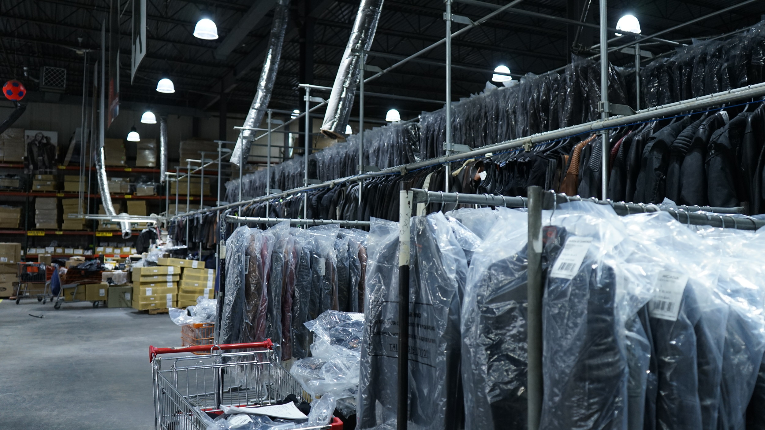 The company's Oceanside plant houses tens of thousands of leather clothing products on humidity- and temperature-controlled racks, before they are shipped to shops across the country.