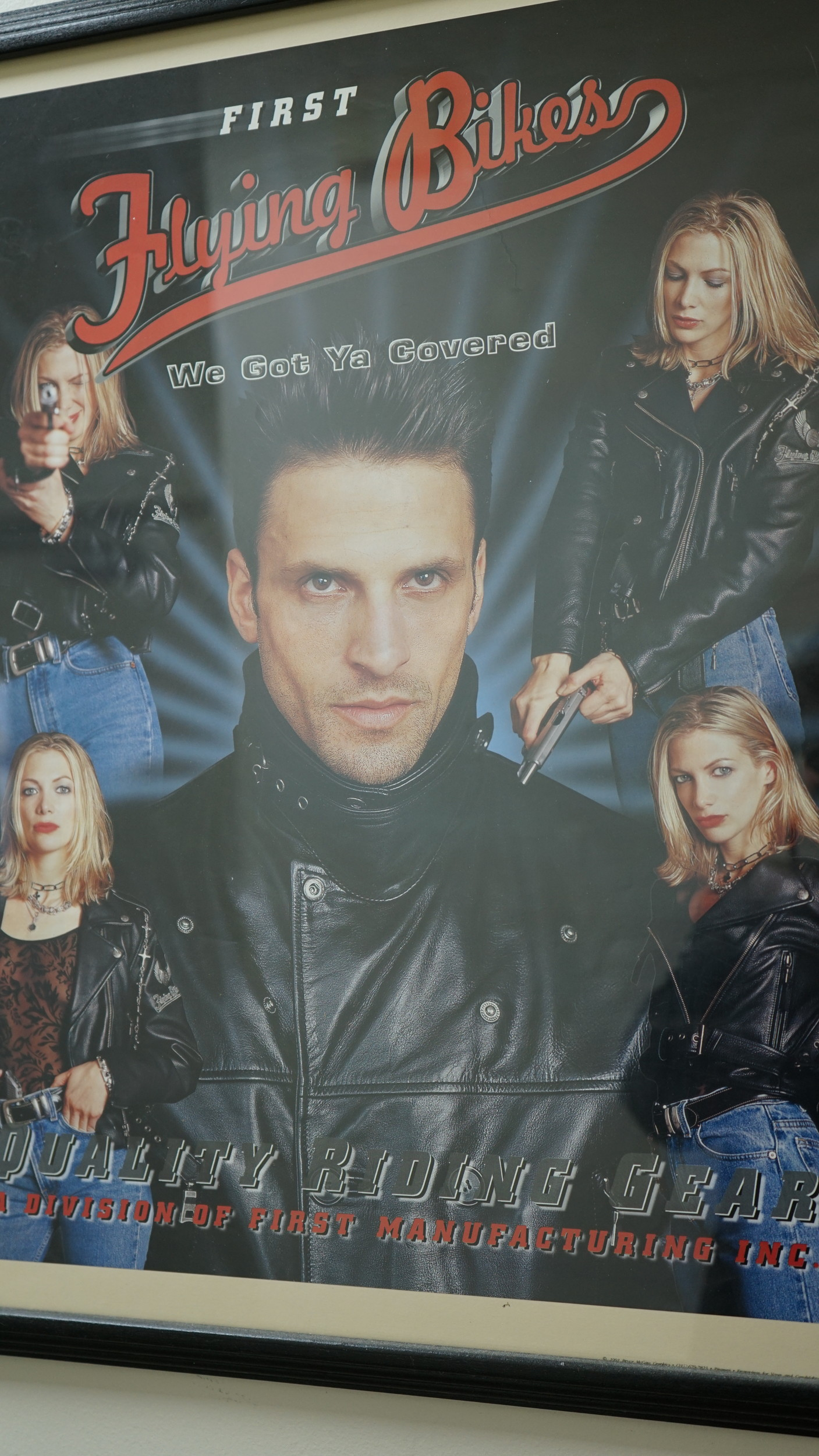Another ad from the early '90s showcases the leather jacket brand's potential appeal to gun owners in the south.