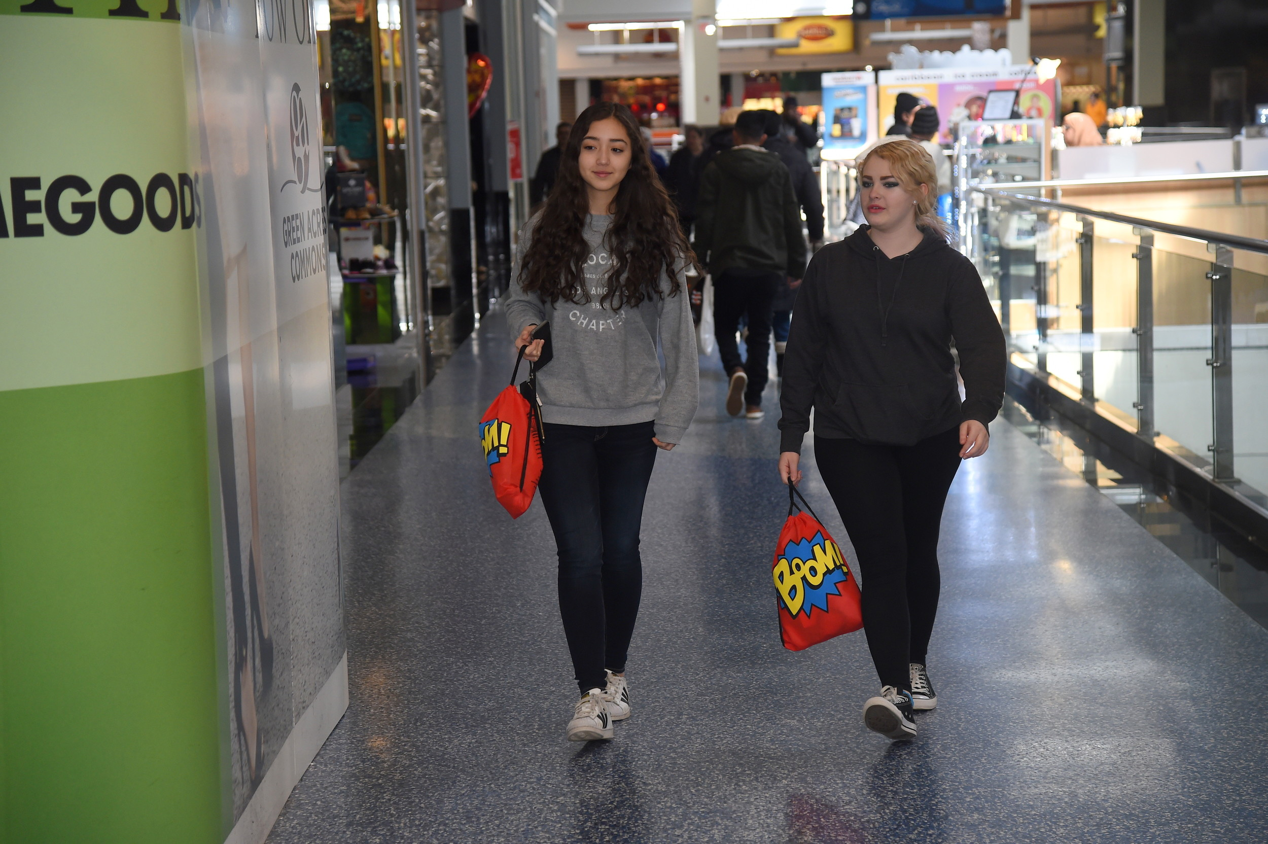 Maria Russotti,14, left, and Serena Riera, 15, of Lynbrook High School, walked through the mall.
