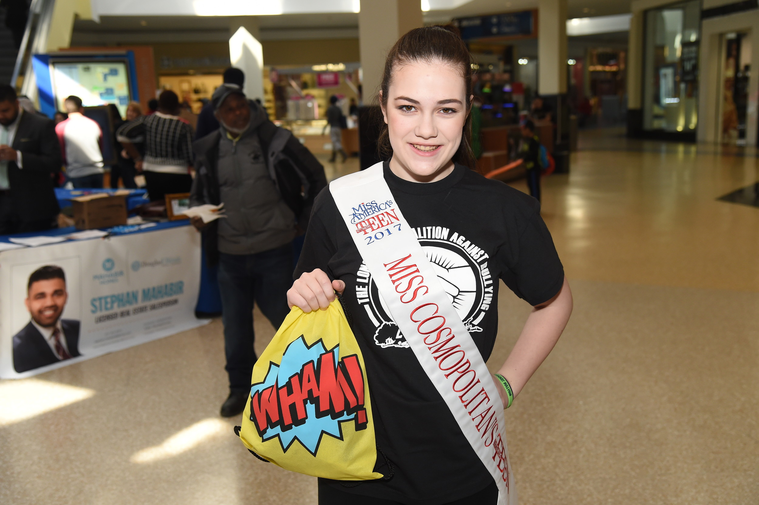 Emily Ertz, 14, of Oceanside, a student at Dominican Academy in New York City, made the trip to Green Acres Mall on March 5 to discourage bullying.
