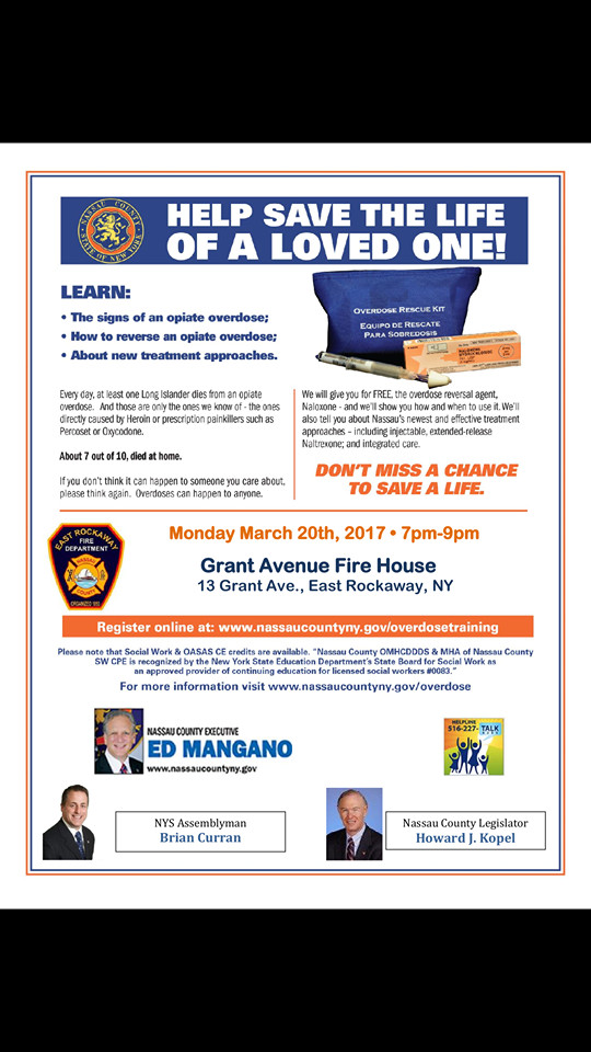 The East Rockaway Fire Department is hosting Narcan training on March 20 at the Grant Avenue Firehouse.