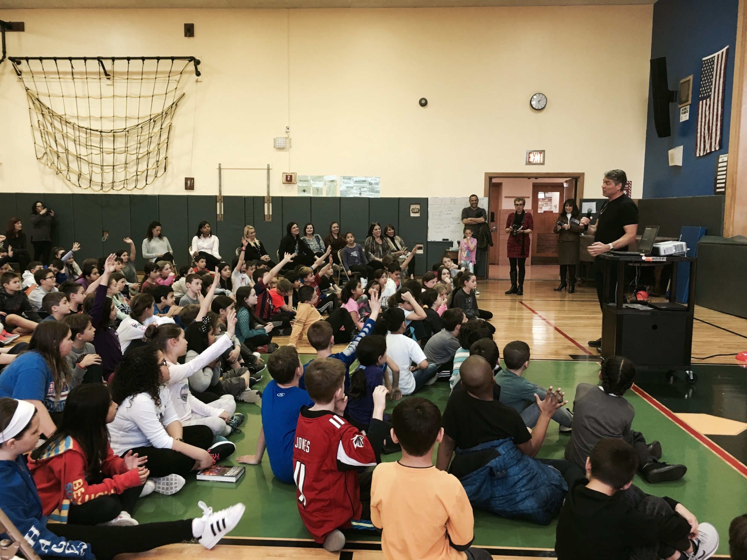 Tim Green answered questions from students in third, fourth and fifth grade at Waverly Park elementary School on March 8.