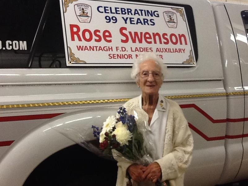 Rose Swenson was honored at the 2014 6th Battalion Parade because of her dedication to the Wantagh Fire Department Ladies Auxiliary.