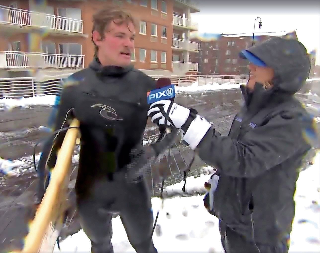 Surfer Adam Winerip made the news on Tuesday, and told PIX11 reporter Kirstin Cole that it was his first time surfing and had floated for about a mile in a nor'easter.
