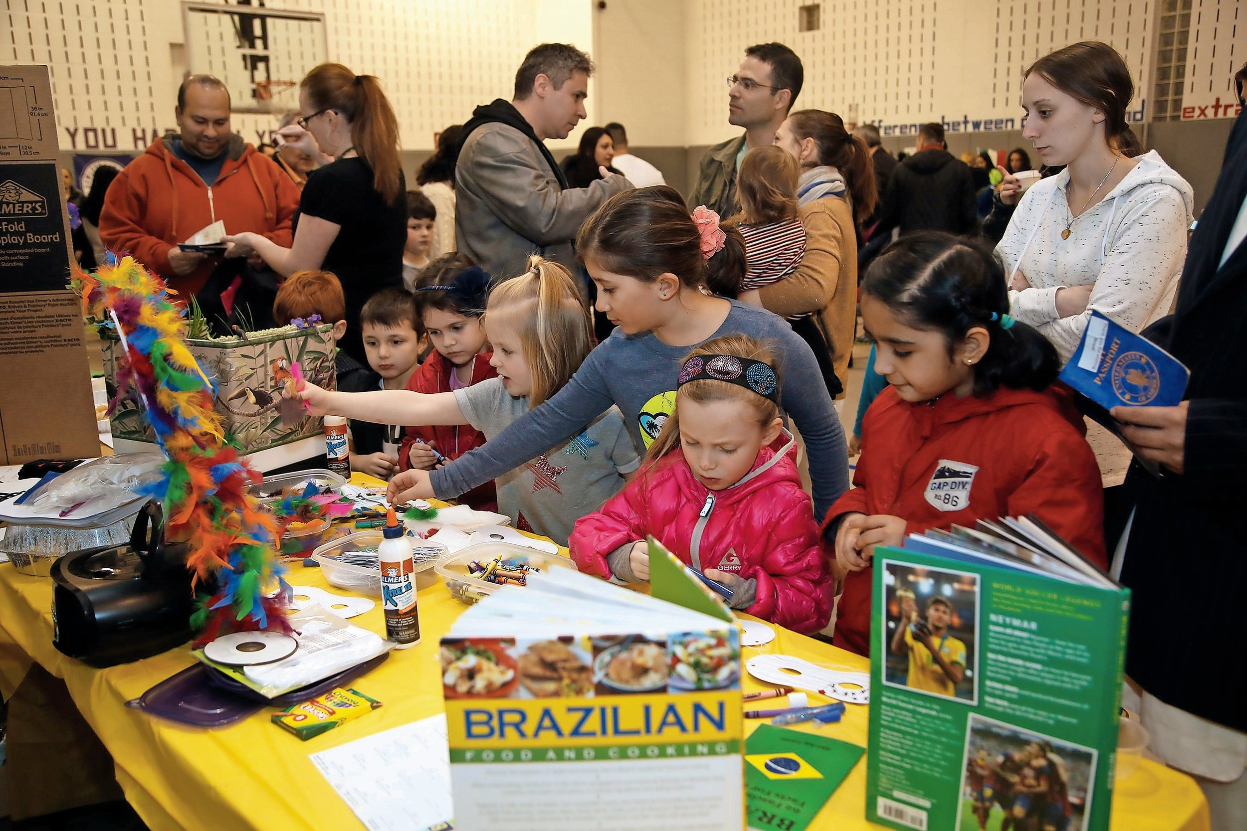 Franklin Early Childhood Center students were enthusiastic about making Brazilian Carnival masks.