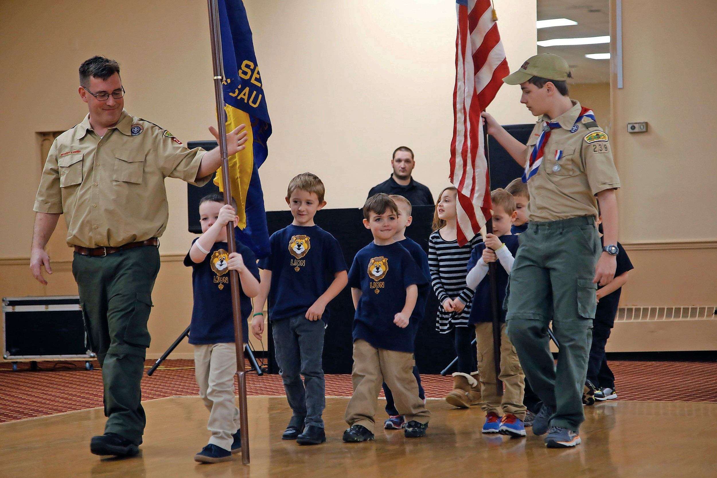 The Lion Scouts Color Guard kicked off the festivities at the Seaford Boy Scout Pack 239 Blue and Gold Banquet on March 5.