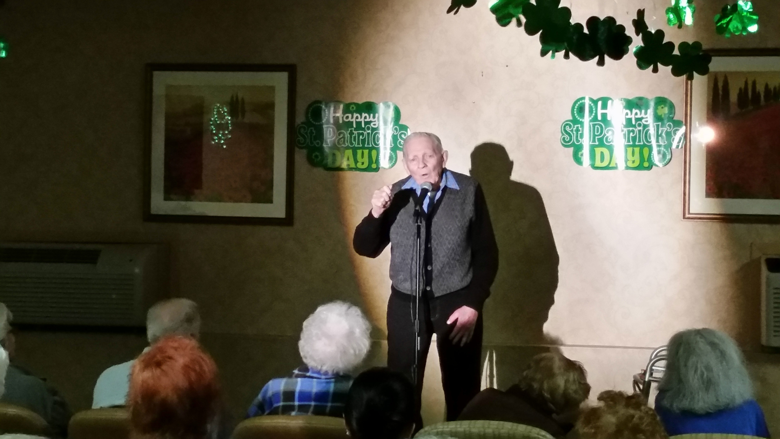 Fred Mueller, 91, headlined a comedy show at The Regency Assisted Living for the first time on March 9.