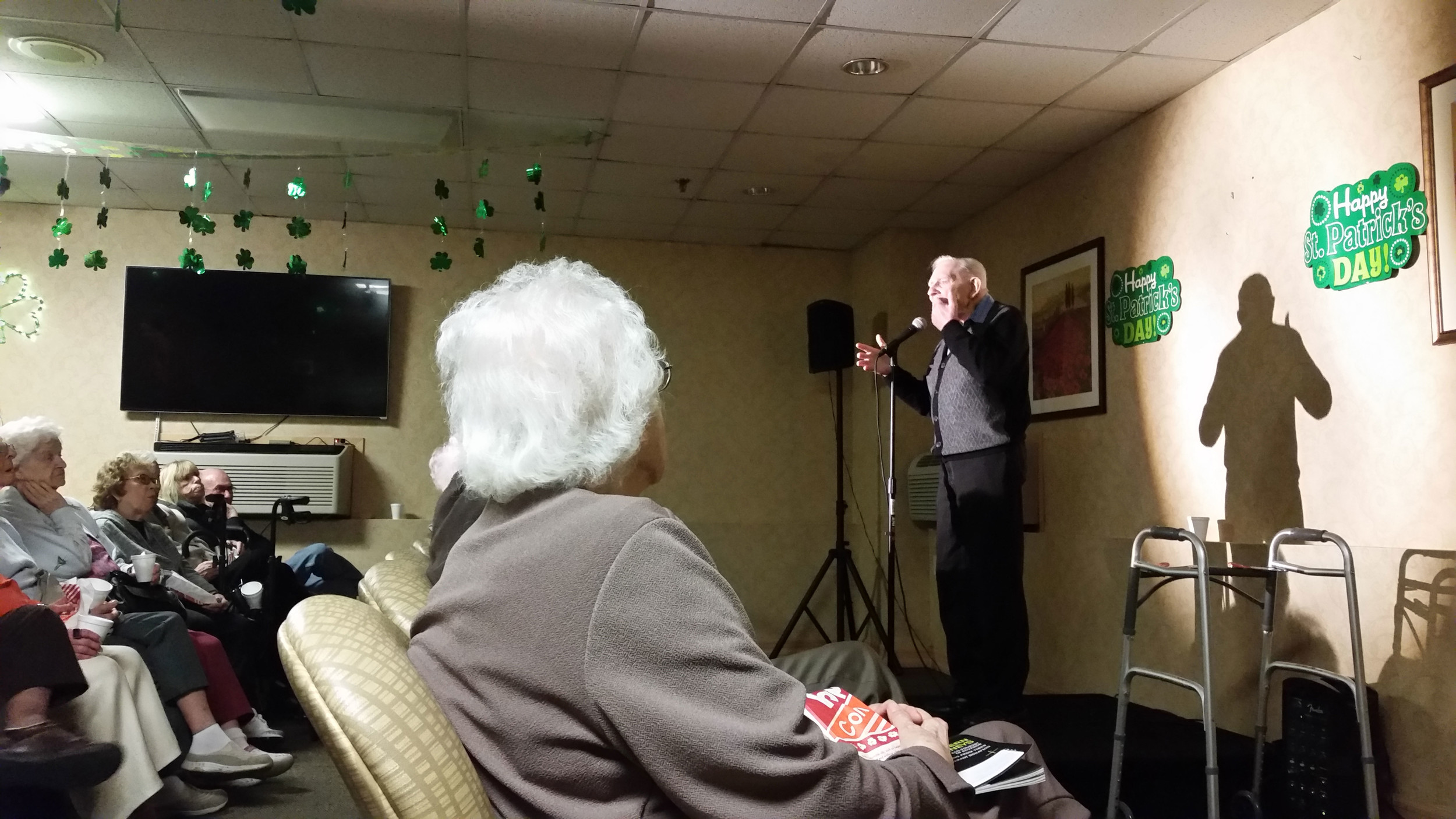 Fred Mueller, right, has performed as a comedian for 12 years and he was delighted when he was given the opportunity to perform in front of his peers at The Regency Assisted Living.