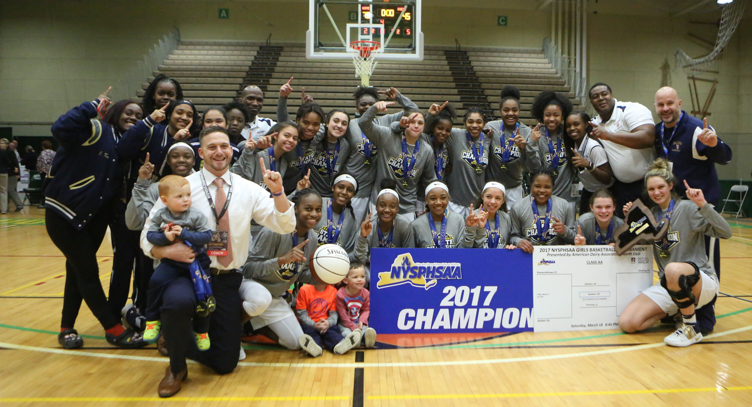 The Lady Bruins roared past Ossining, 73-45, to win the NYS Class AA girls' basketball title at Hudson Valley Community College in Troy on Saturday night.