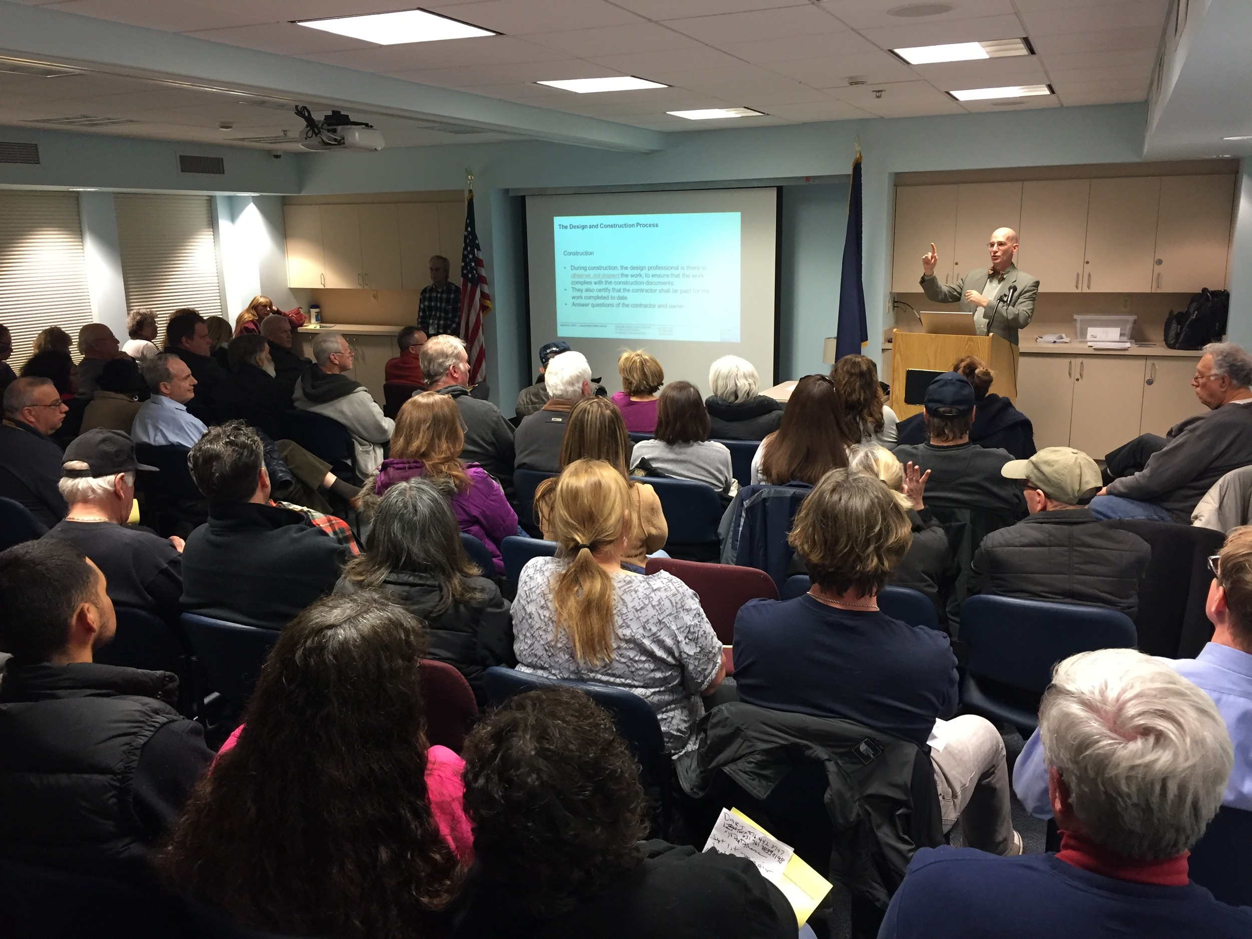 Architect Brian Baer led a Hurricane Sandy recovery education forum at the Island Park Library on March 22. More than 100 people came to the three-hour event.