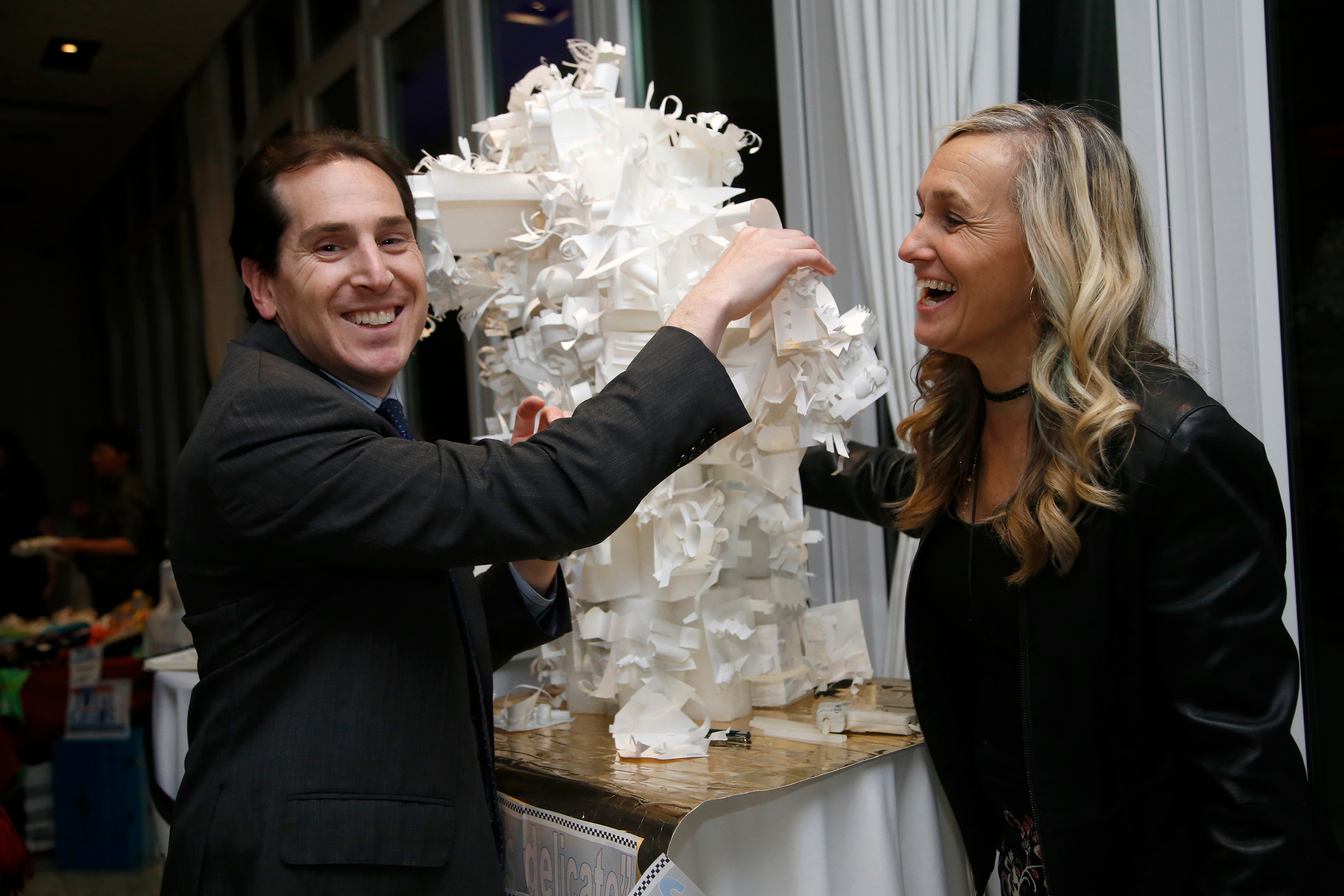 State Sen. Todd Kaminsky contributed to artist Laura O'Shaughnessy Swan's Louise Nevelson-inspired sculpture.