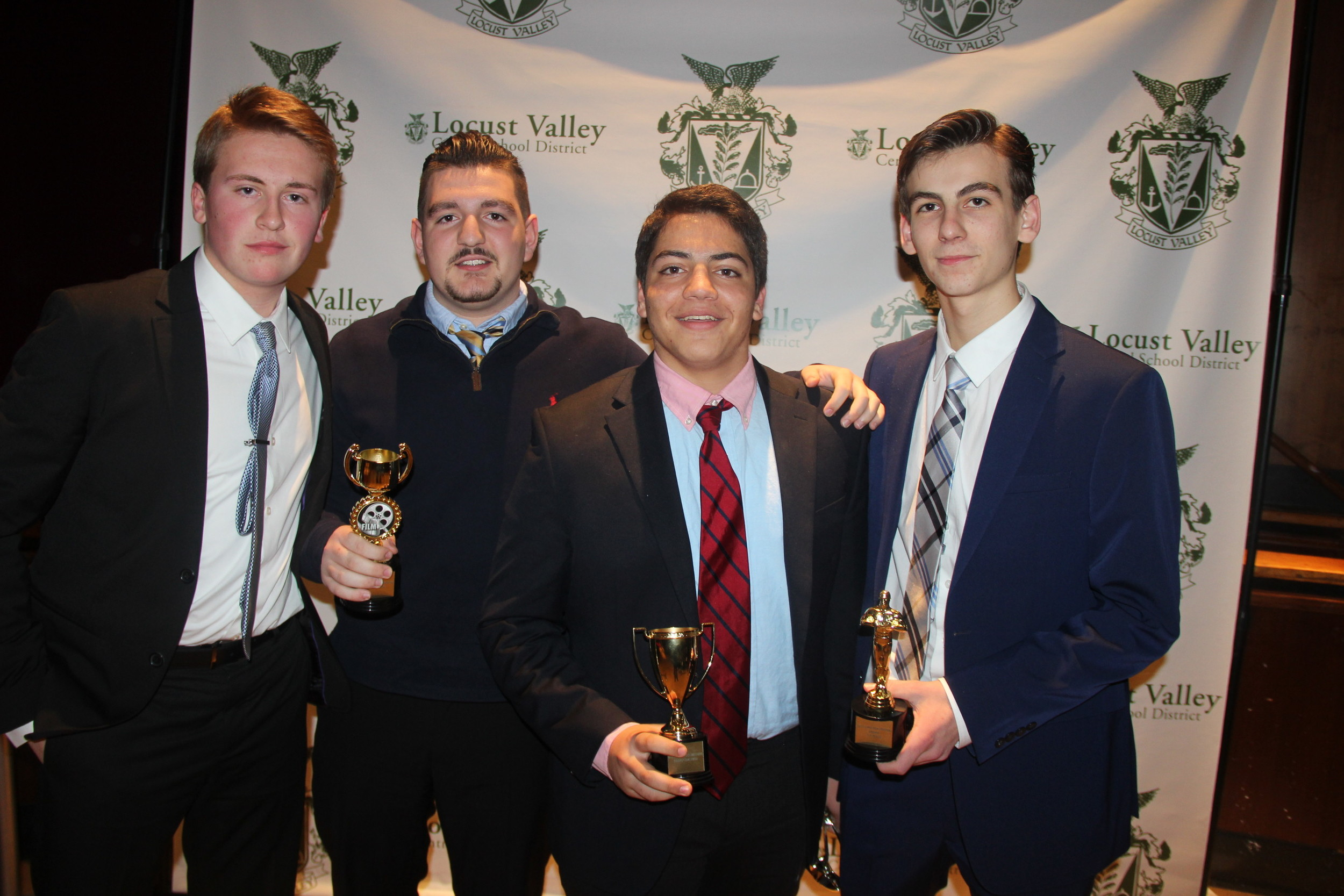 "Alec Miranda, far left, Marc Ambrosino, Justin Manzi and Chris Madsen won the most awards for their drama ""The Last Letter."""