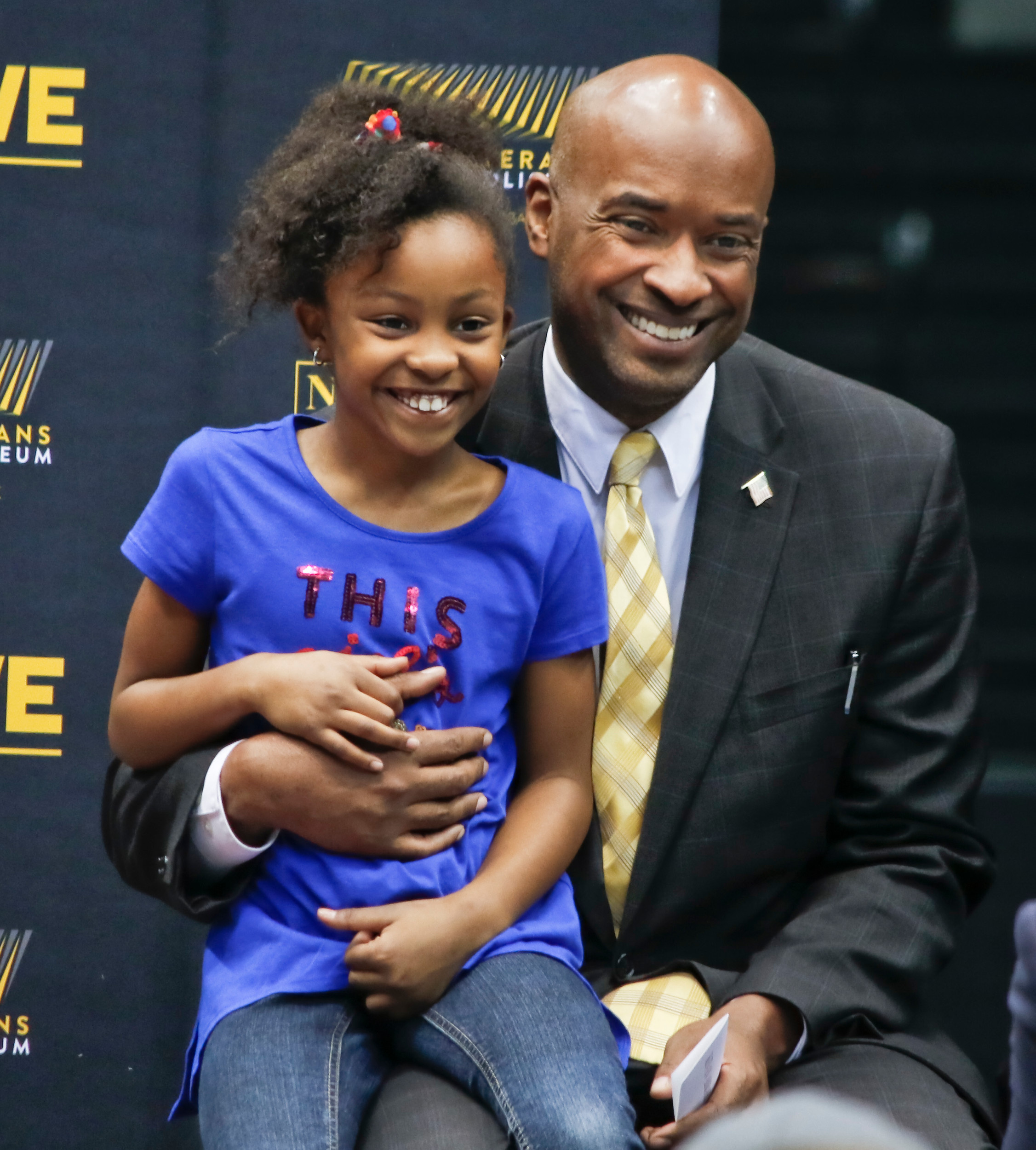 Kevan Abrahams and his daughter during the Nassau Coliseum Tour on March 31st.