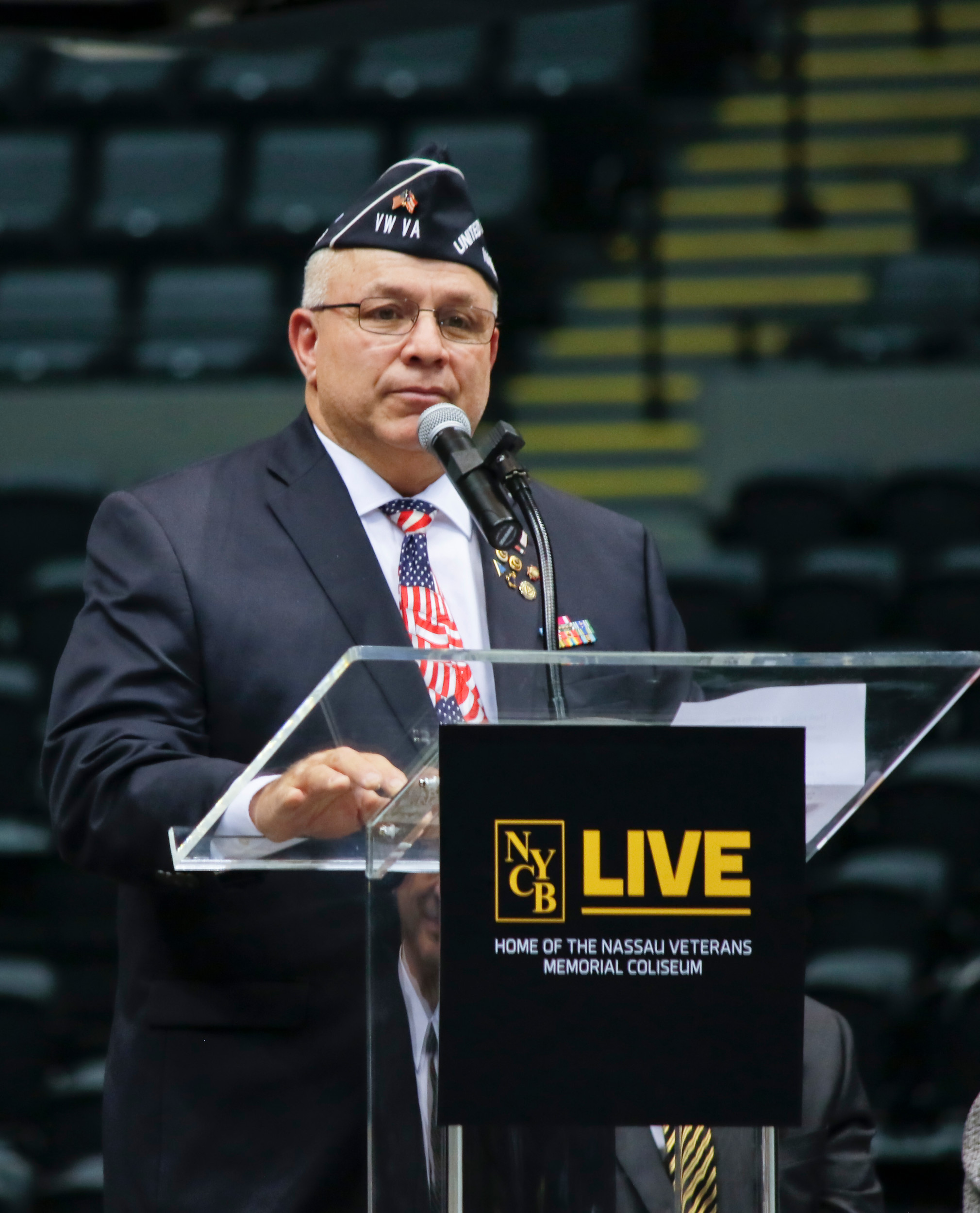 Frank Colon spoke about the new veterans memorial for the venue, which kept the name Nassau Veterans Memorial Coliseum, and recognized the veterans who were in attendance. The new coliseum has 8 seats that will always remain empty during every event in honor of those who have given the ultimate sacrifice. POW, MIA, all brances of the military, first responders and those who lost their lives in 9-11. These seats are marked with a special emblem.