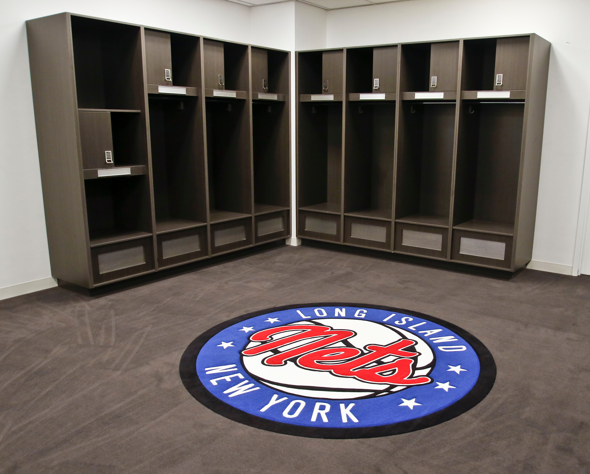 Part of the Nets locker room.