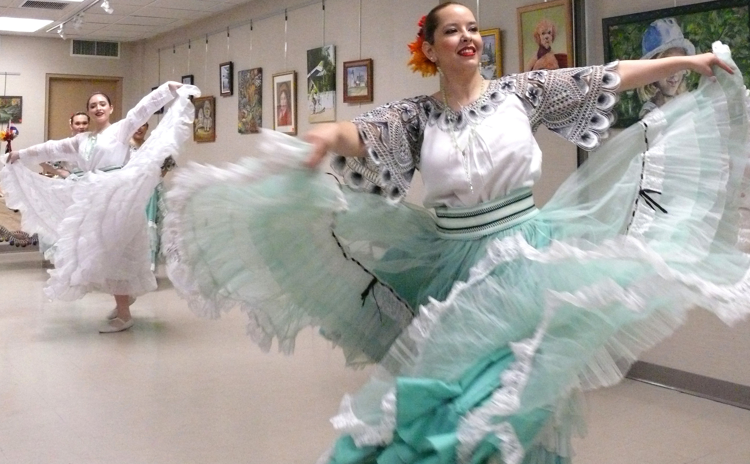 Illiana Gauto and Viviana Vergara, of the dance group Panambi Verá, led a line of dancers and showcased traditional ballet at the East Meadow Public Library on March 11.