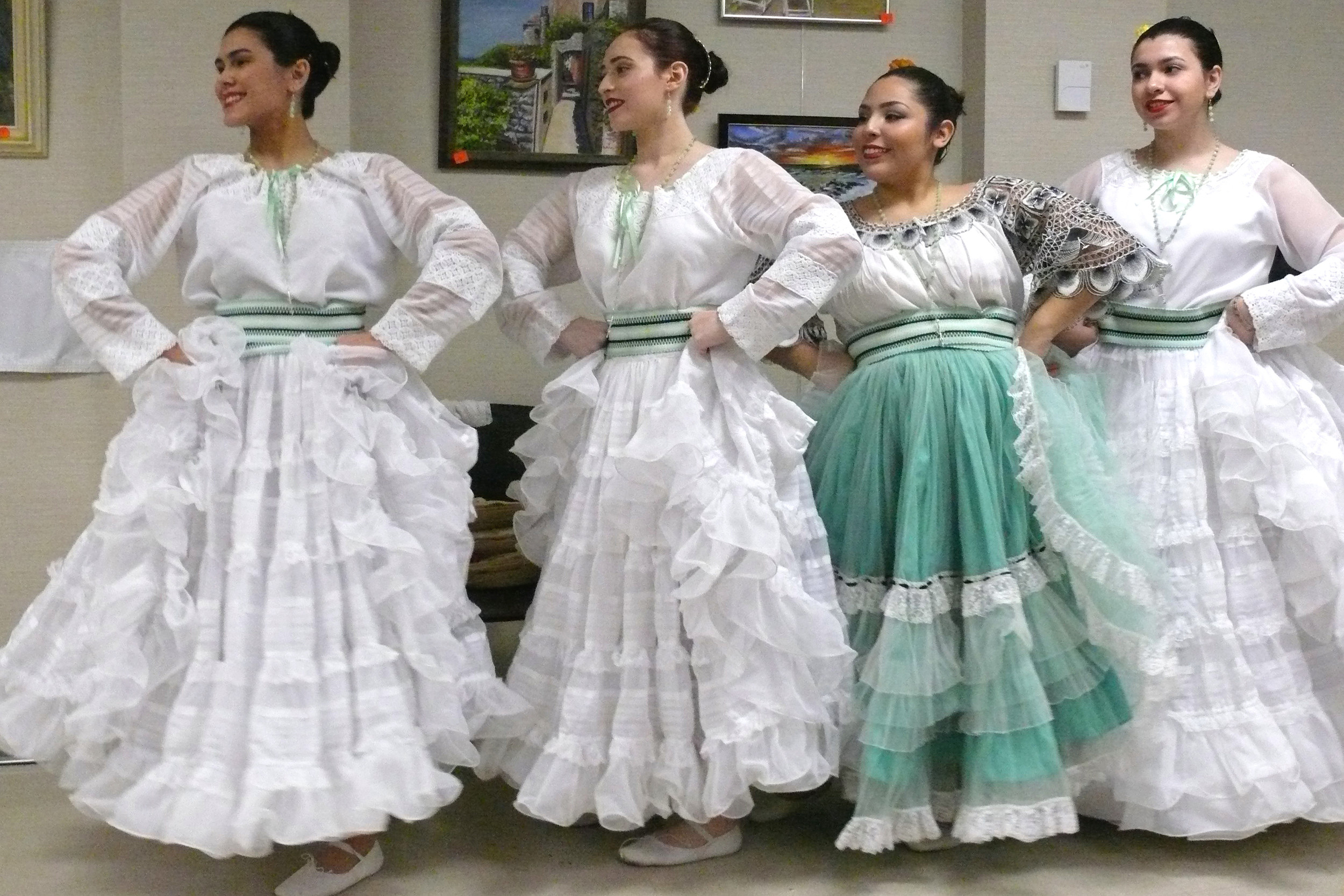Panambi Verá dancers prepped for their performance at the East Meadow Library on March 11 as part of the Sunday Conert Series. 