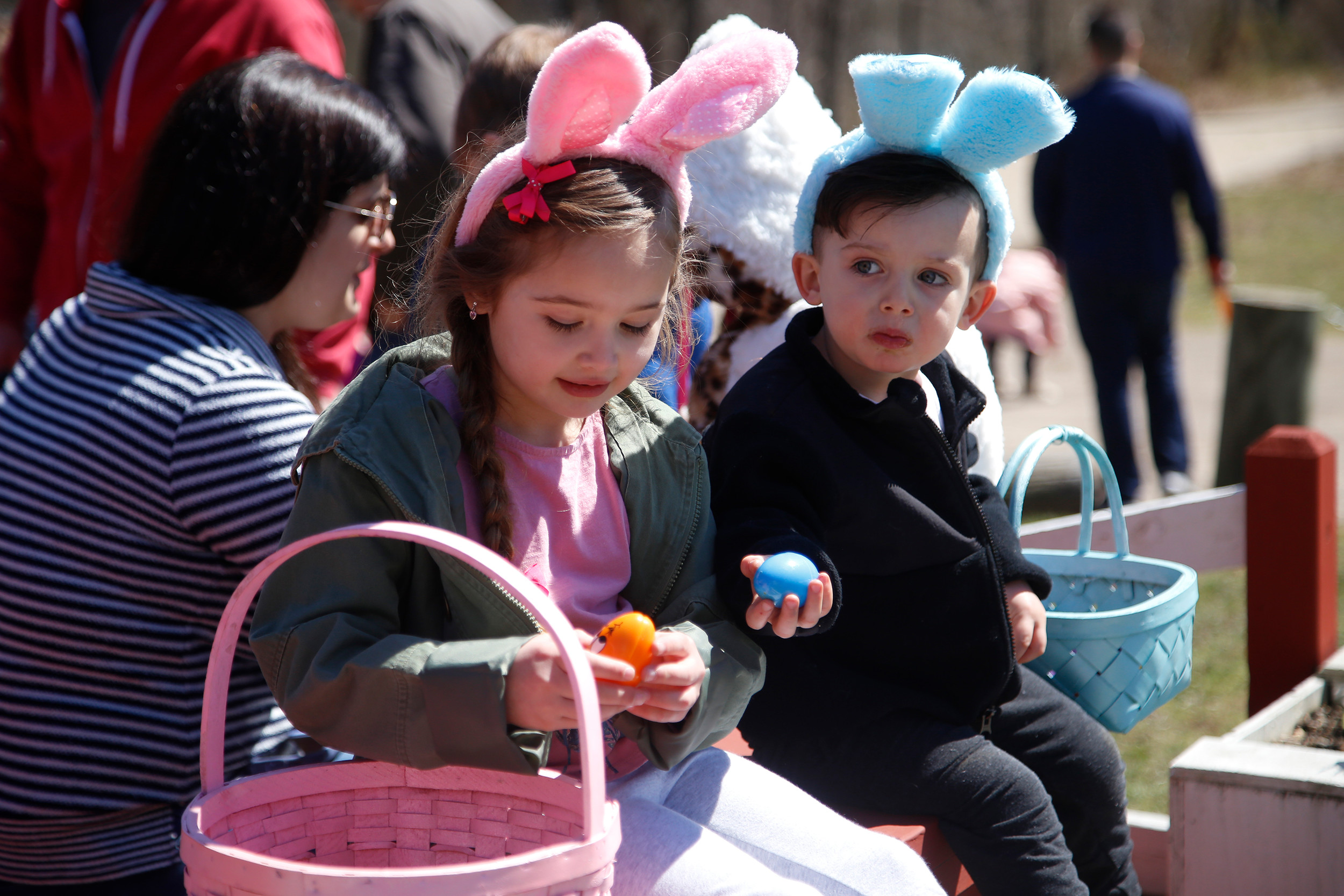 Carolina O'Connor, 5, and Xavier O'Connor, 2, collected candy-filled eggs at the annual Forest City Community Civic Association Spring Fling on April 2.