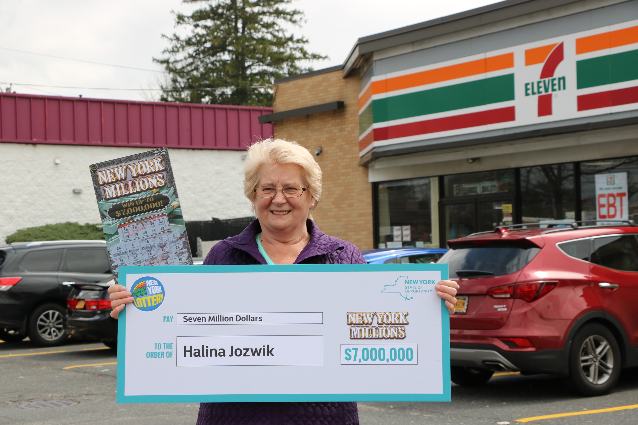Hailna Jozwik of West Hempstead purchased a $7 million scratch-off ticket at the West Hempstead 7-Eleven on Hempstead Turnpike and Garden City Blvd.