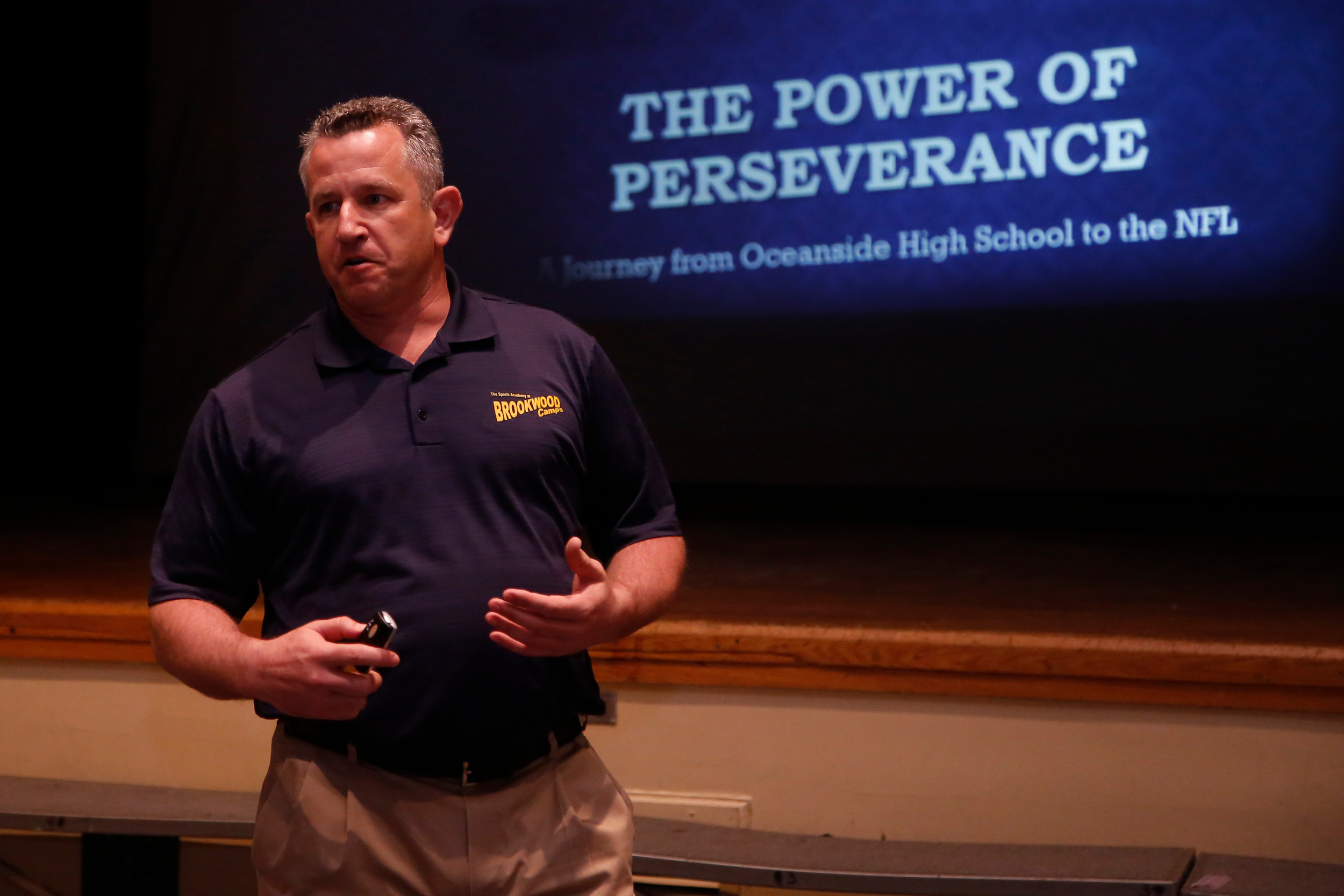 Oceanside High School alum and former NFL Quarterback Jay Fiedler discussed the power of perseverance to OHS students during Human Relations Day on April 5.