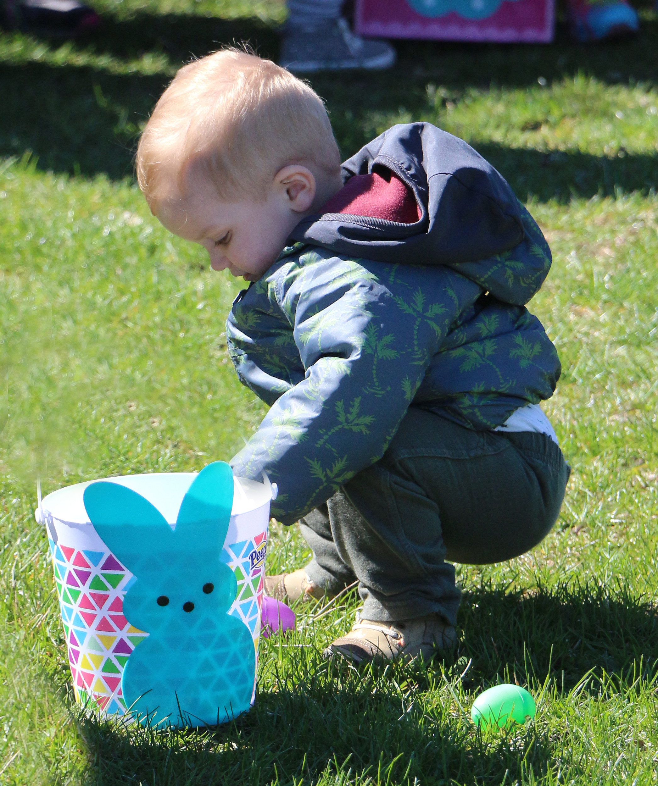 Charlie Alliegro, 18 months, collected eggs for his Easter basket in Oceanside