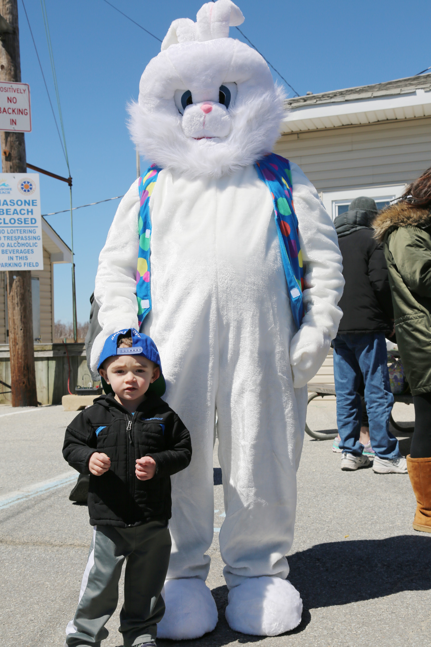 Two-year-old Maxwell Marmo with the Easter Bunny at Masone Beach in Island Park.
