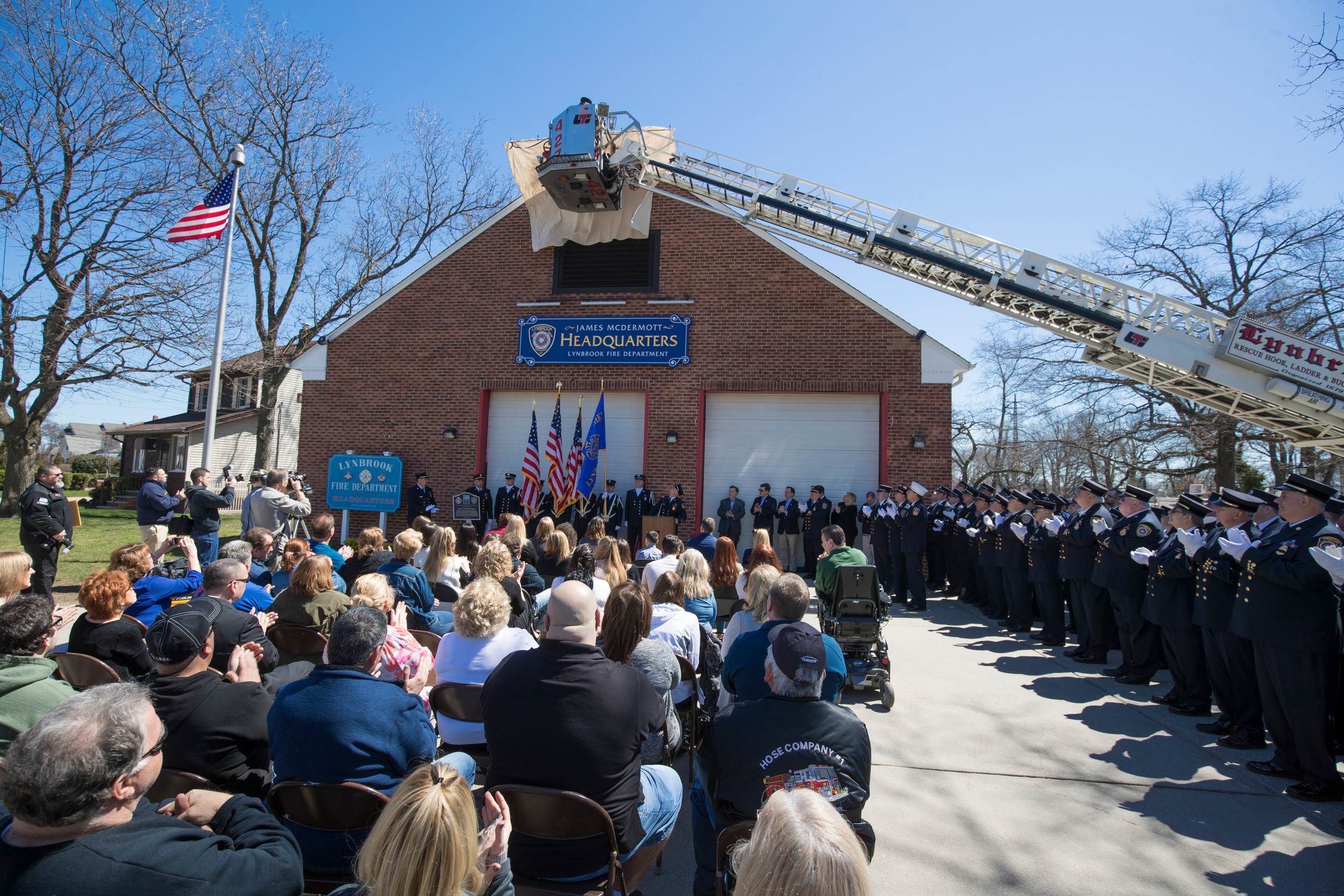 About 200 residents, elected officials and Lynbrook Fire Department members gathered on April 9 when the Truck Company named its headquarters after late former Chief James McDermott.