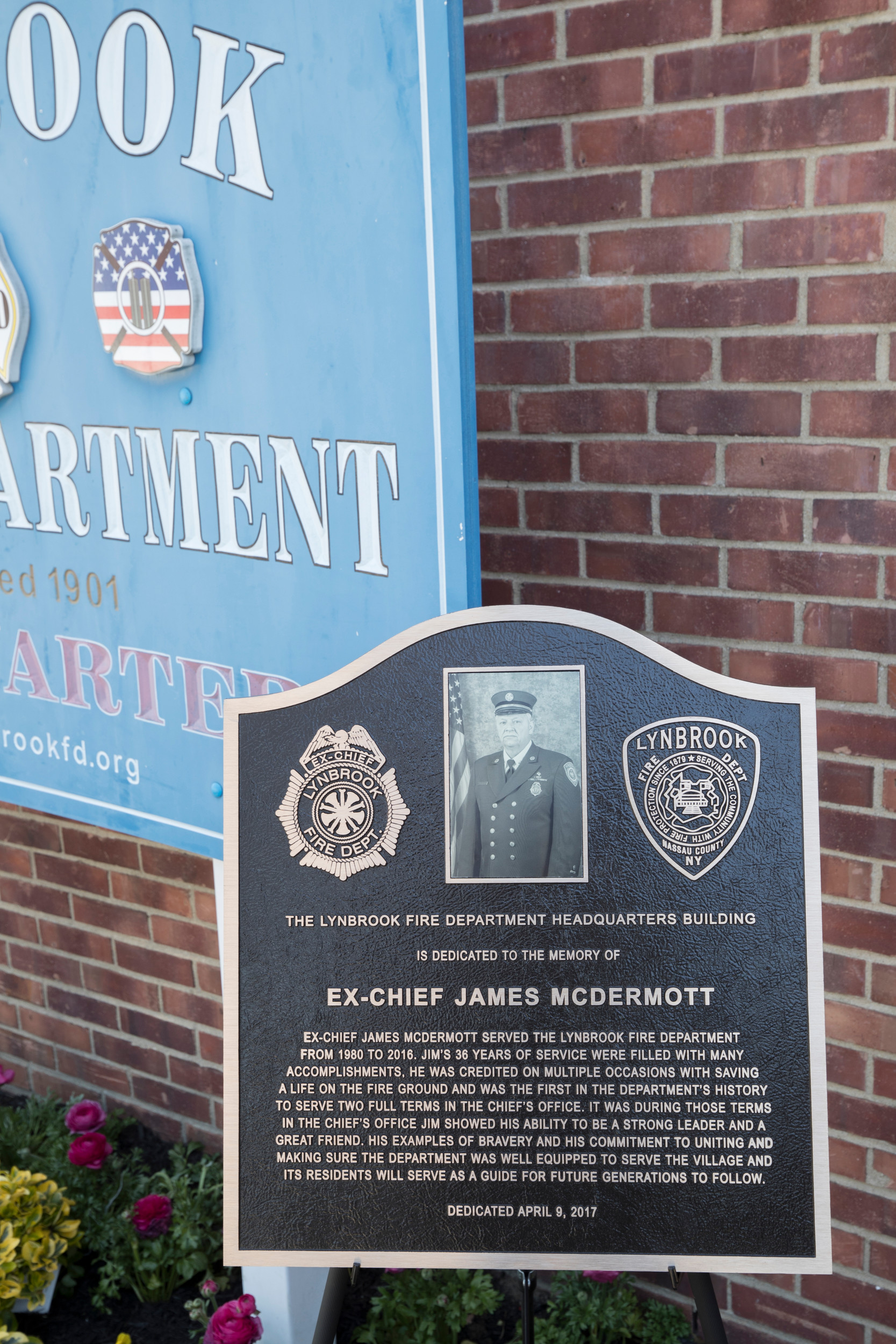 A plaque detailing James McDermott's career was installed on the exterior of the Lynbrook Fire Department's headquarters on Wright Avenue.