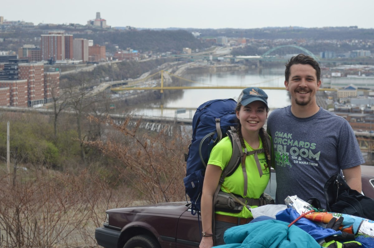 Anna Butler, left, joined Daniel Finnegan and Abby Bongaarts as a guest walker for three days.