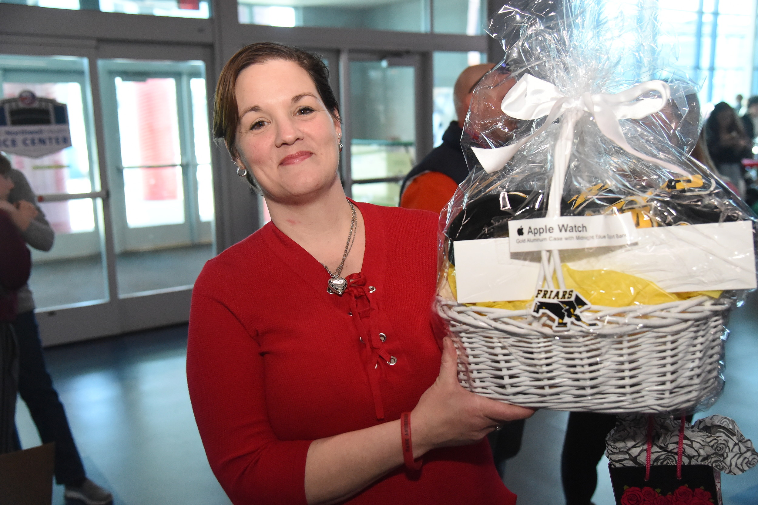 Kerry Boring received a gift basket donated by St Anthony's