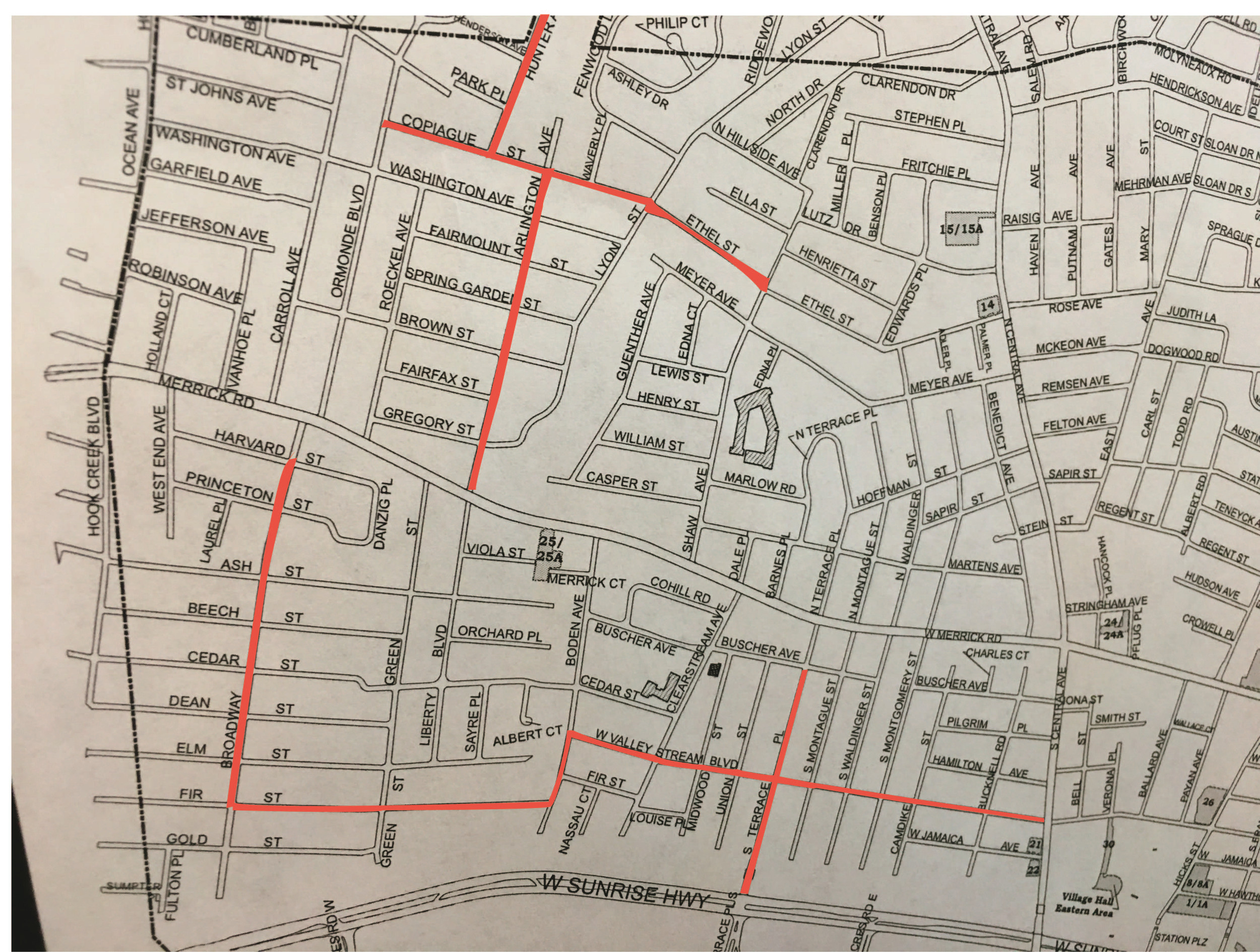 This map shows which streets will have utility poles and wires replaced.