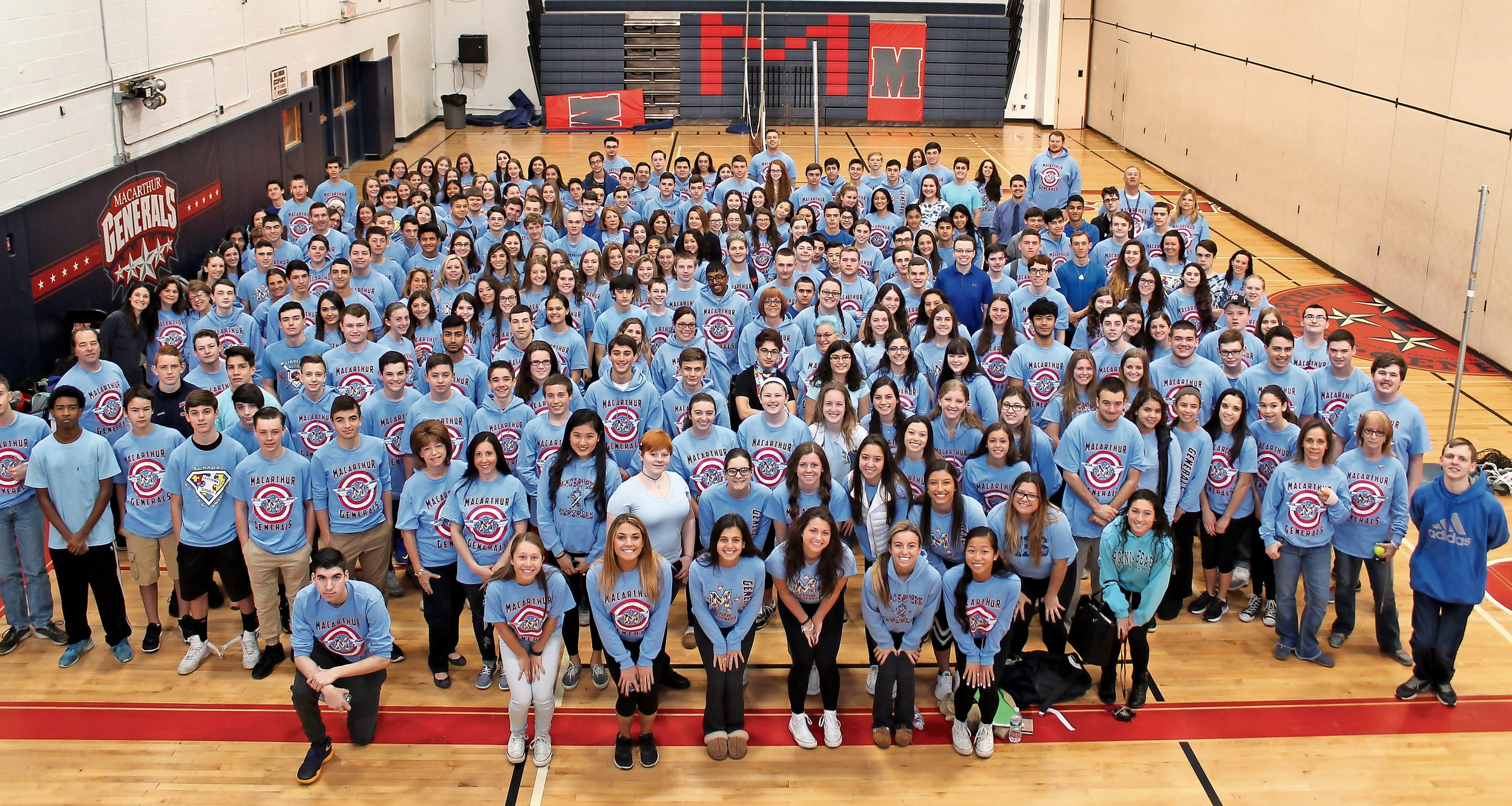 MacArthur students, teachers and staff created a sea of blue at their celebration of World Autism Awareness Day.