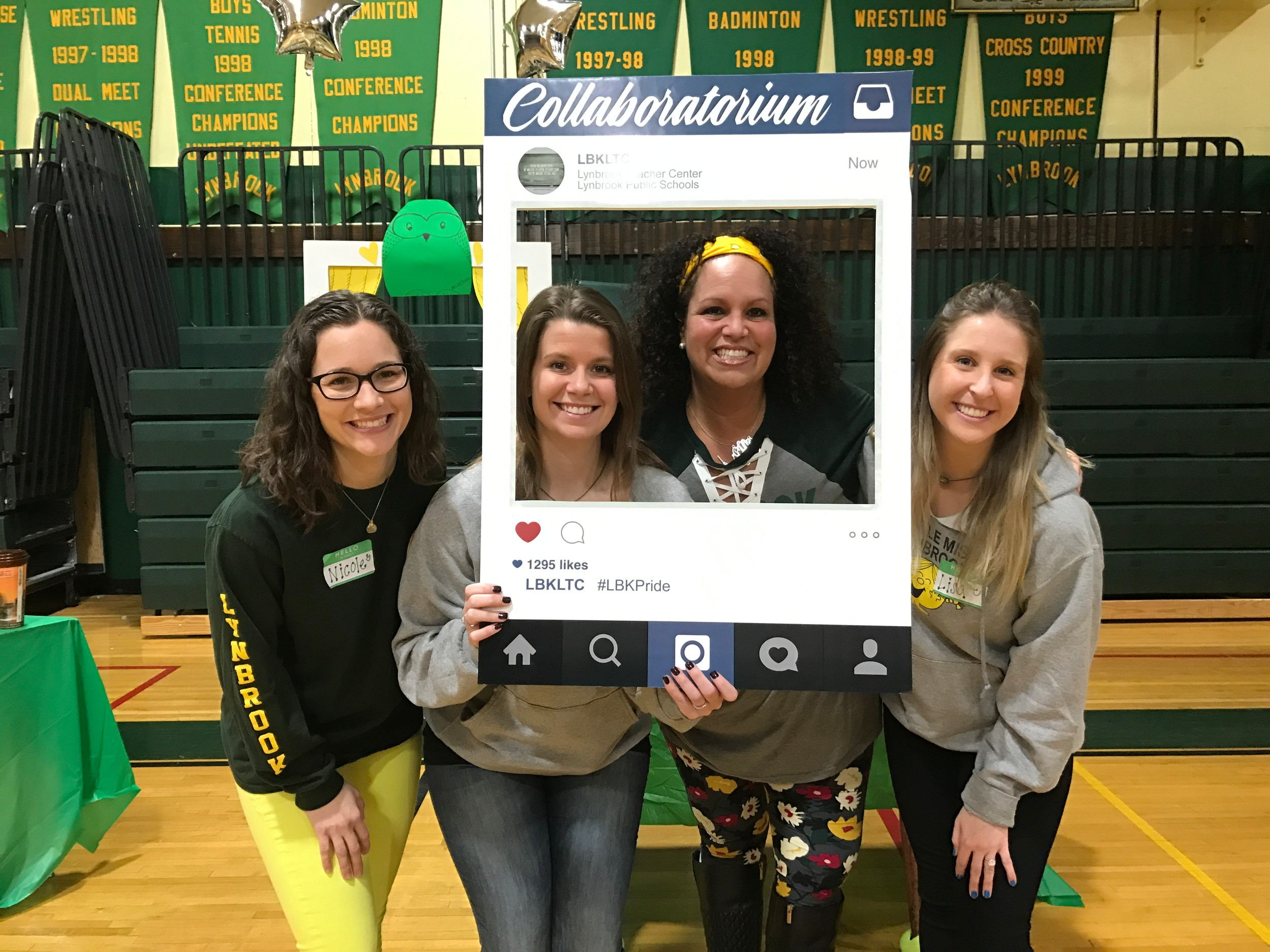 "Policy board members Nicole Sherry, left, and Jessica Eitingon, Lynbrook Teachers Center Director Mary Kirby and policy board member Lisa Nulty had some fun with Instagram at the ""Unconference Day"" meeting."