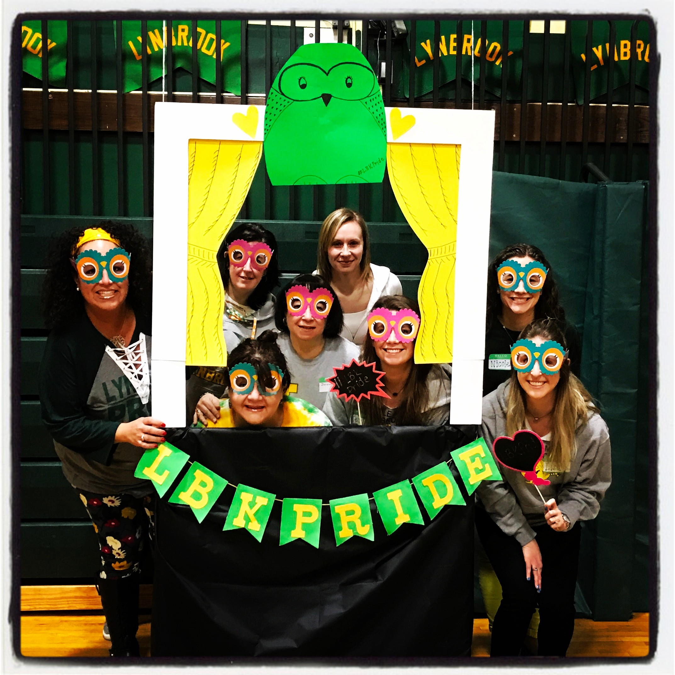 Teachers from Marion Street School showed their school pride by donning Owl eyes for photos at the seminar.