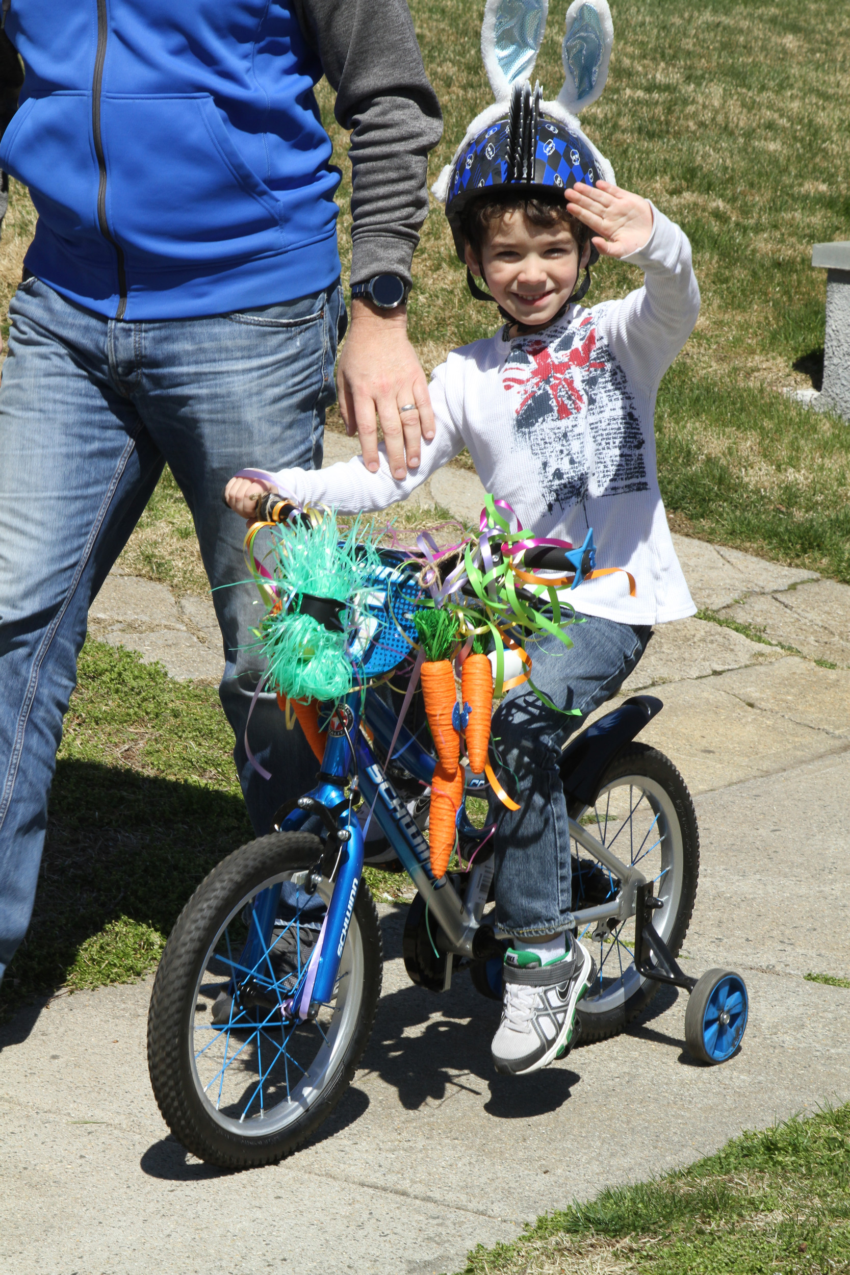 Matthew Travia, 5, was one of many children who decorated their bike for the Easter parade.