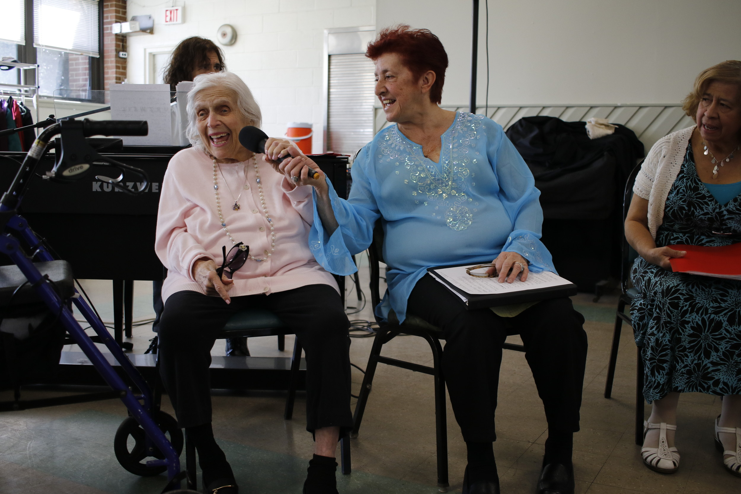 "Millicent Kleban, left, sang ""You Are My Sunshine"" with the help of Gloria Marsala."