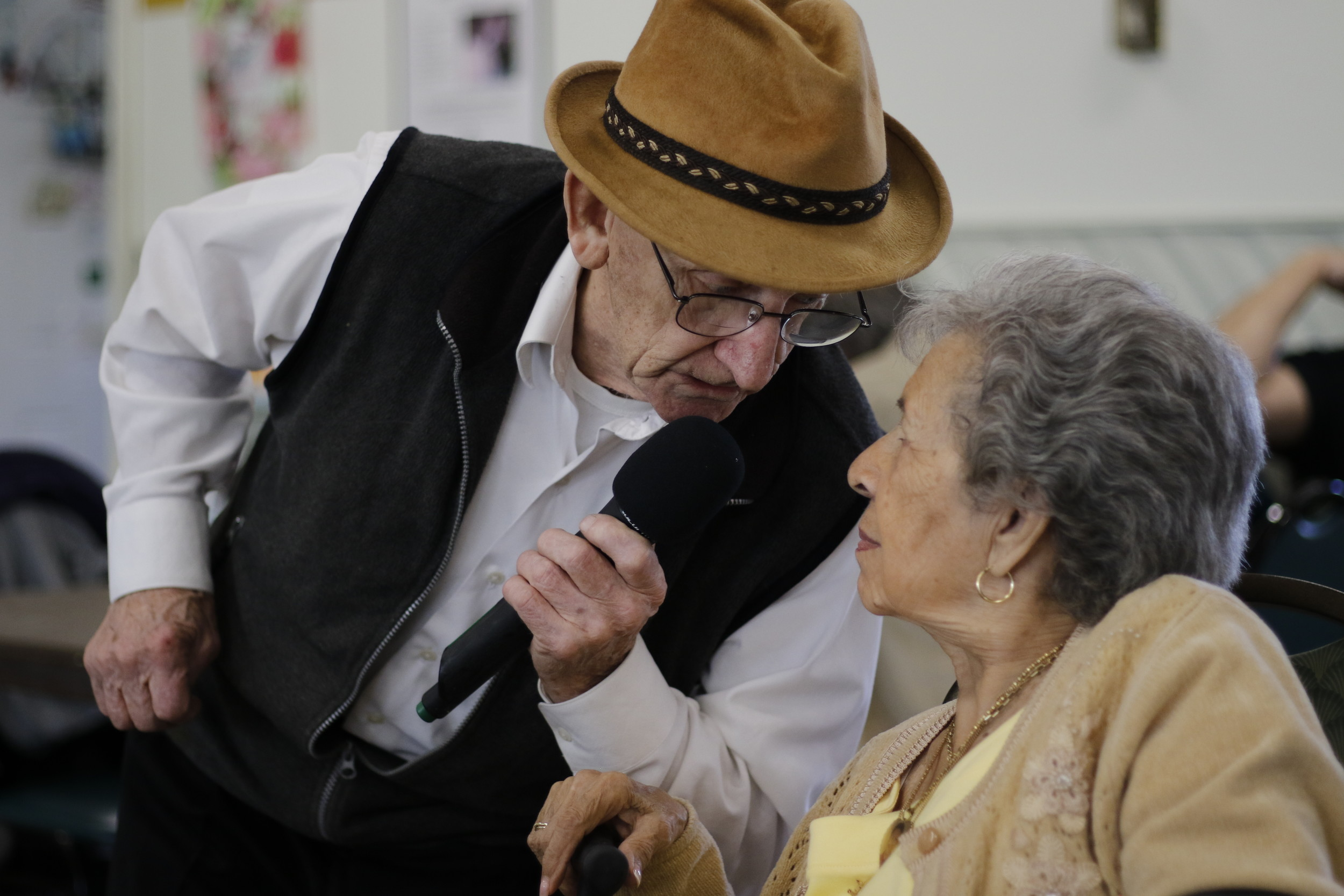 "Performing ""Mack the Knife,"" Sean Bowden sang to 94-year-old Josephine Avolio."