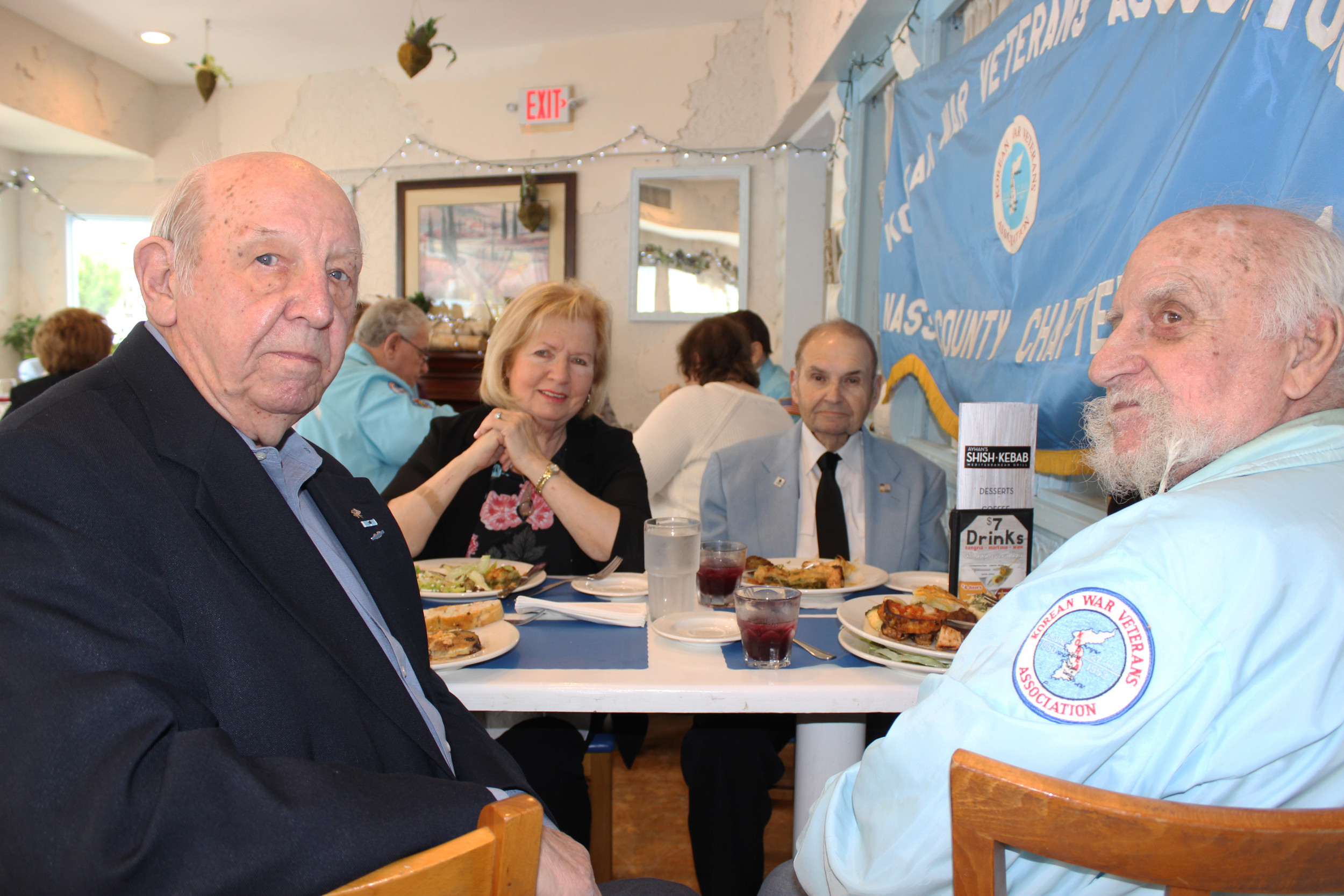Harold Prummel, 86, of Carle Place, left, said that he joined the Korean War Veterans Association to contribute the comradery it fosters in its members. He is pictured here with Florence and Bernard Hoffman, 85, both of Merrick, and Jack Leff, 88, of Inwood.