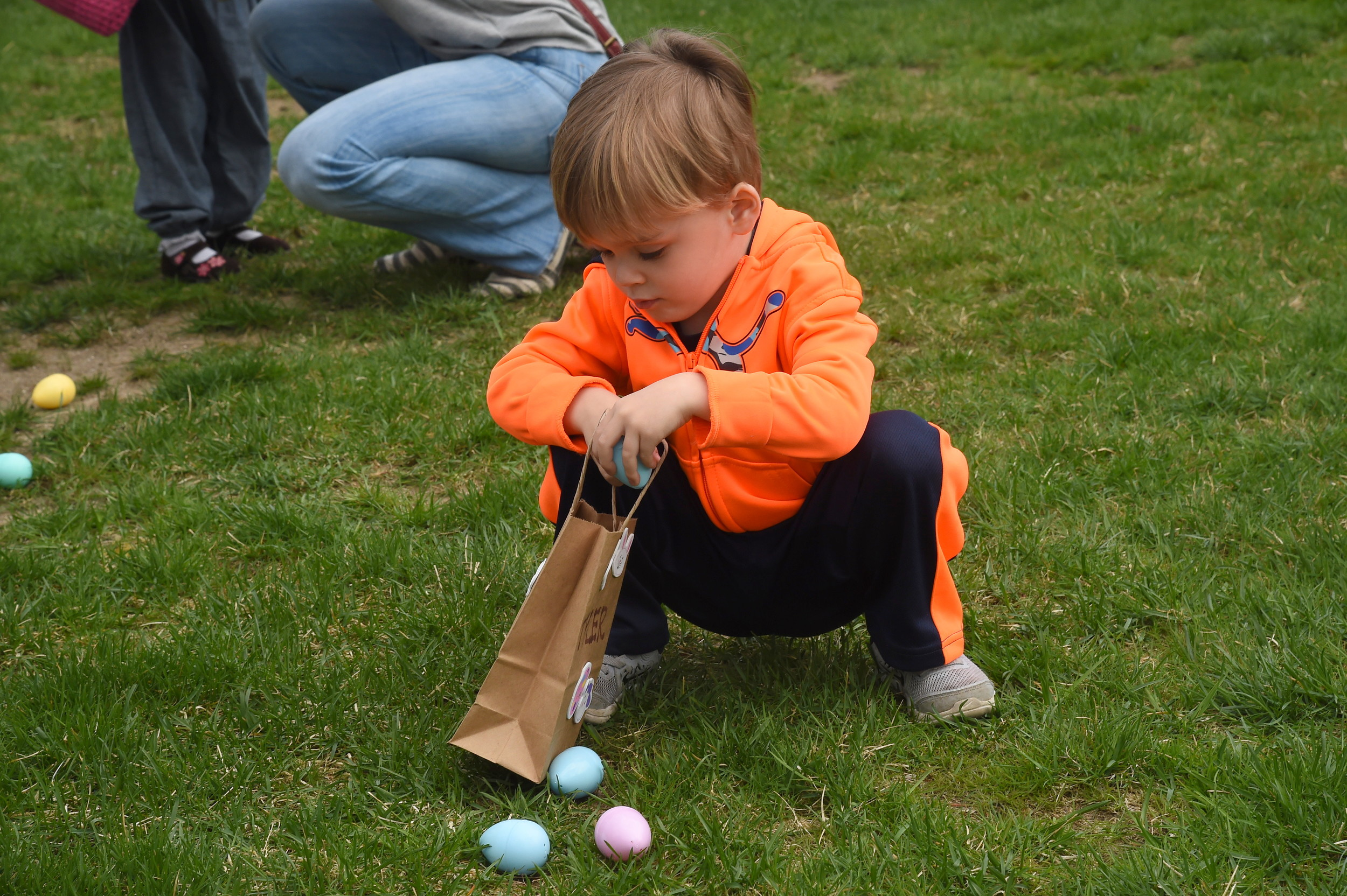 Salvatore Mongeluzzi, 2, was lost in concentration as he hunted the elusive Easter eggs.